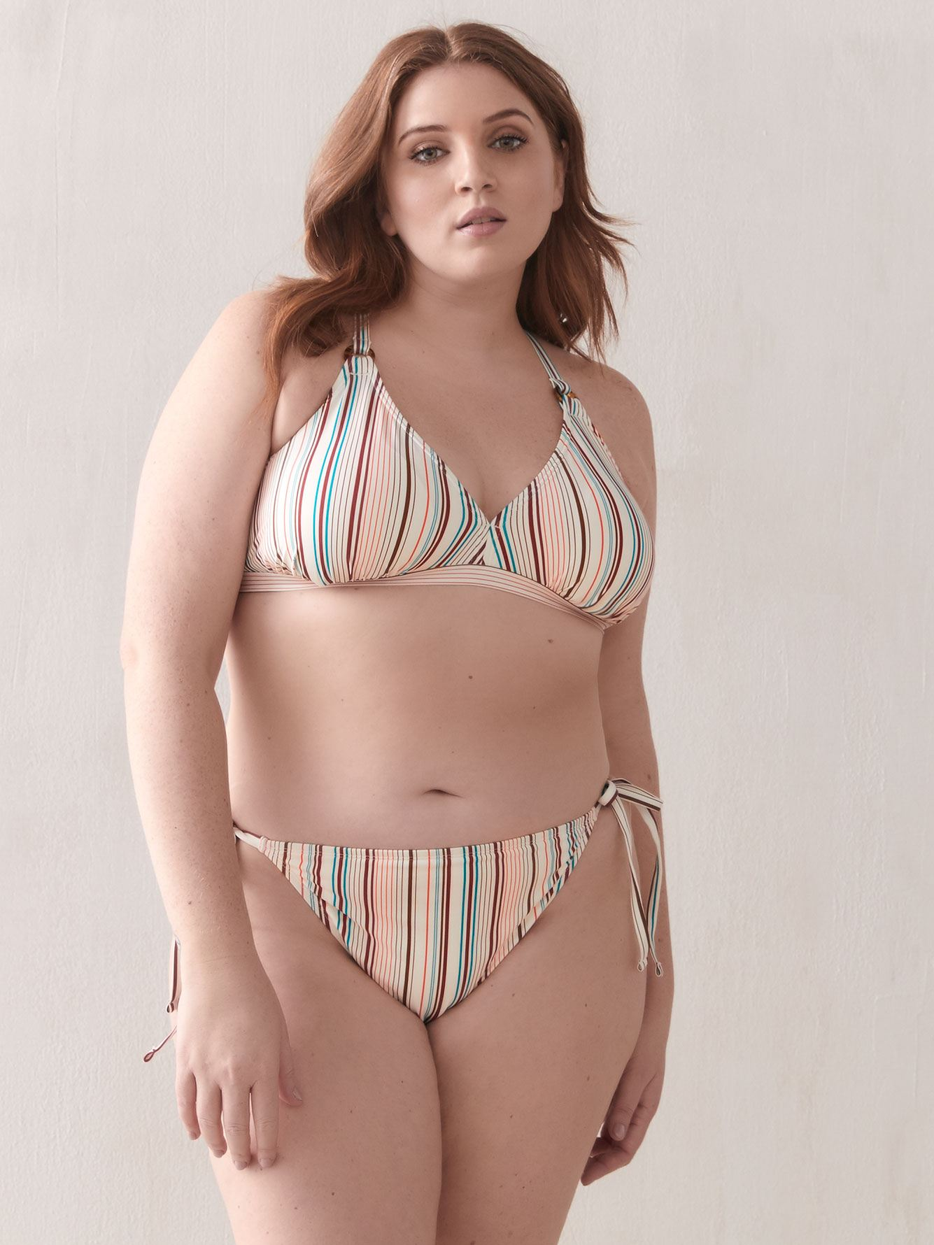 Striped Triangle Bikini Top - Addition Elle