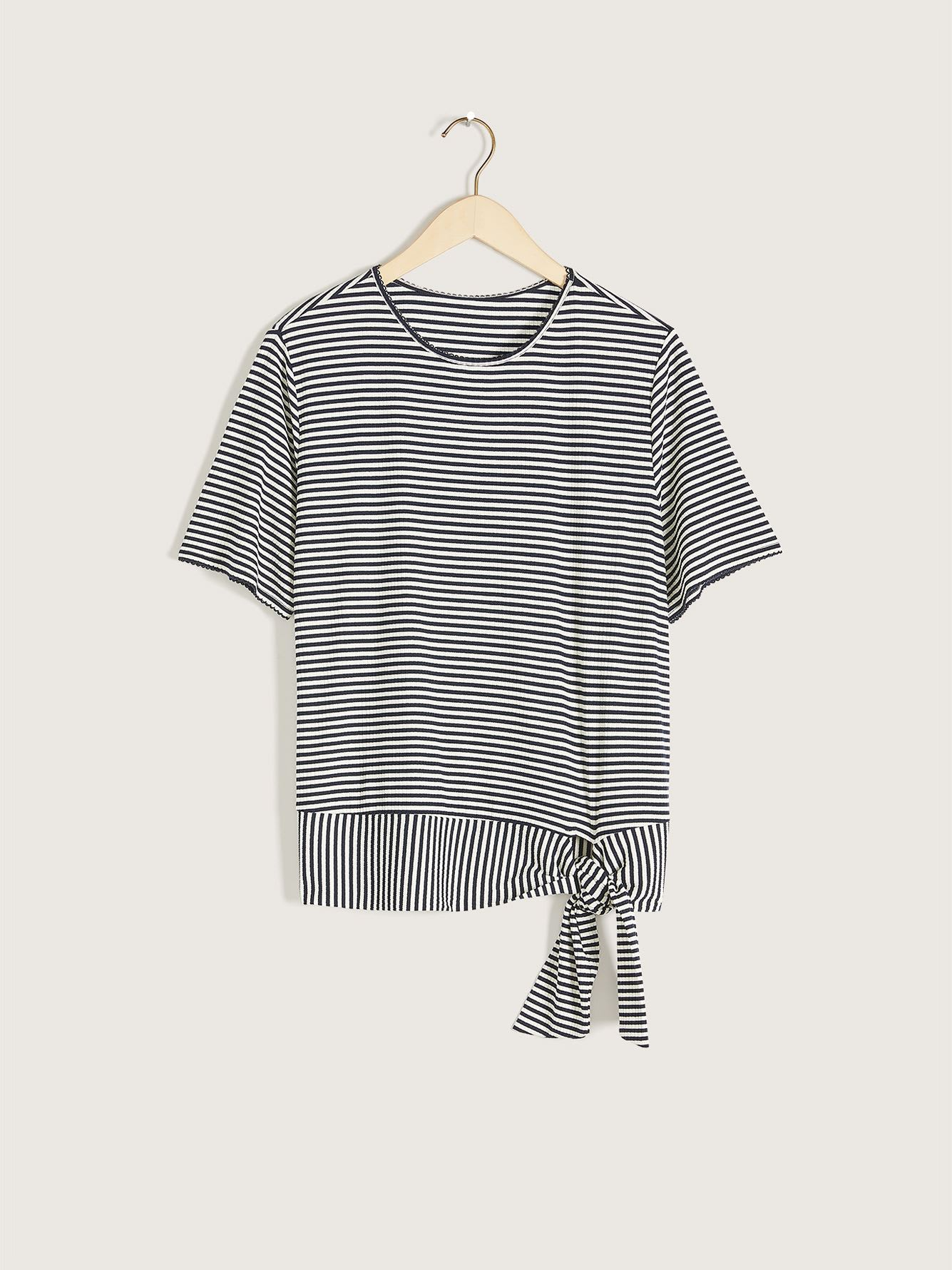 Ribbed Crop Top with Self-Tie At Hem - Addition Elle