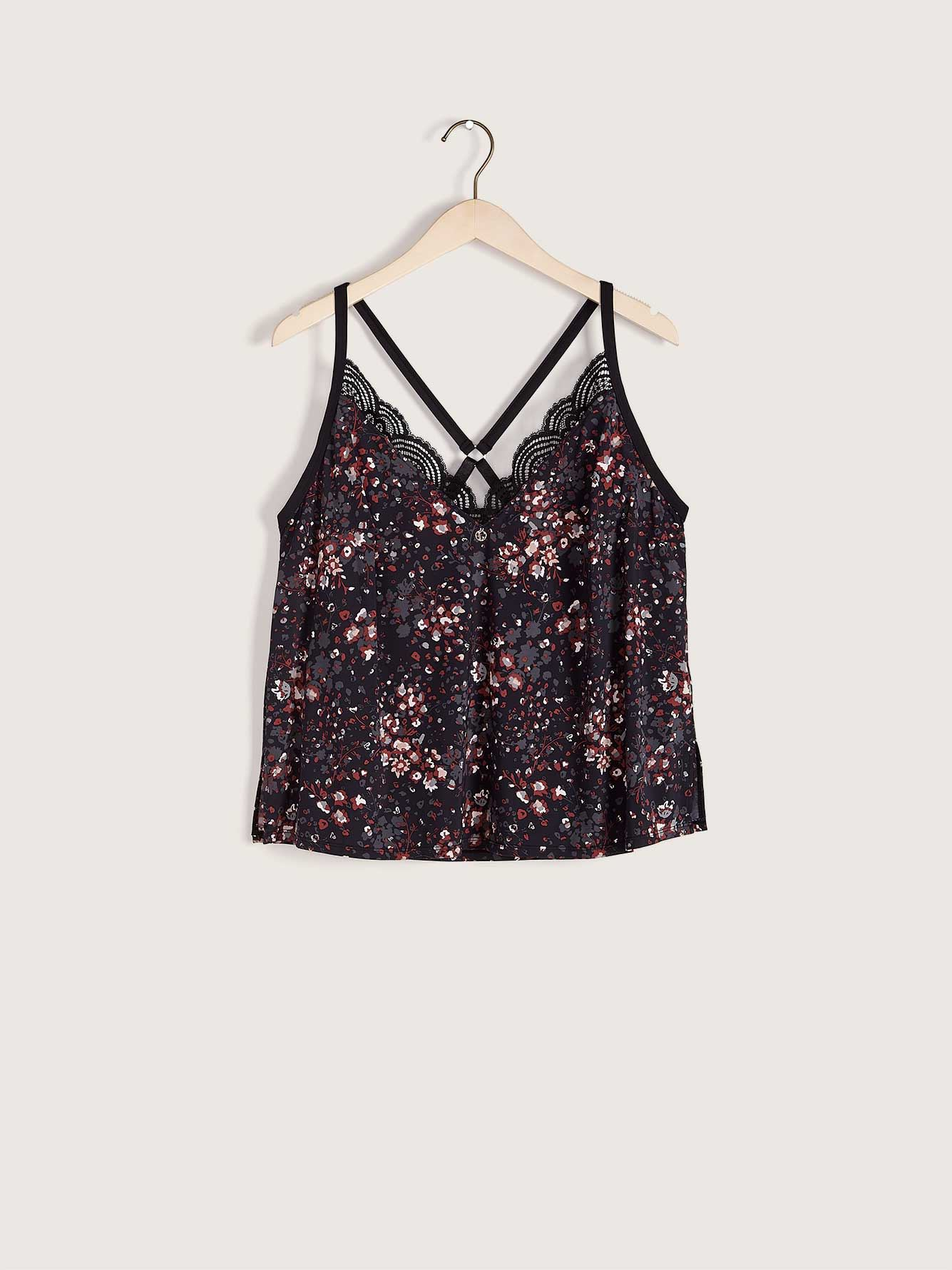 Printed Sleep Cami with Lace Details - Ashley Graham