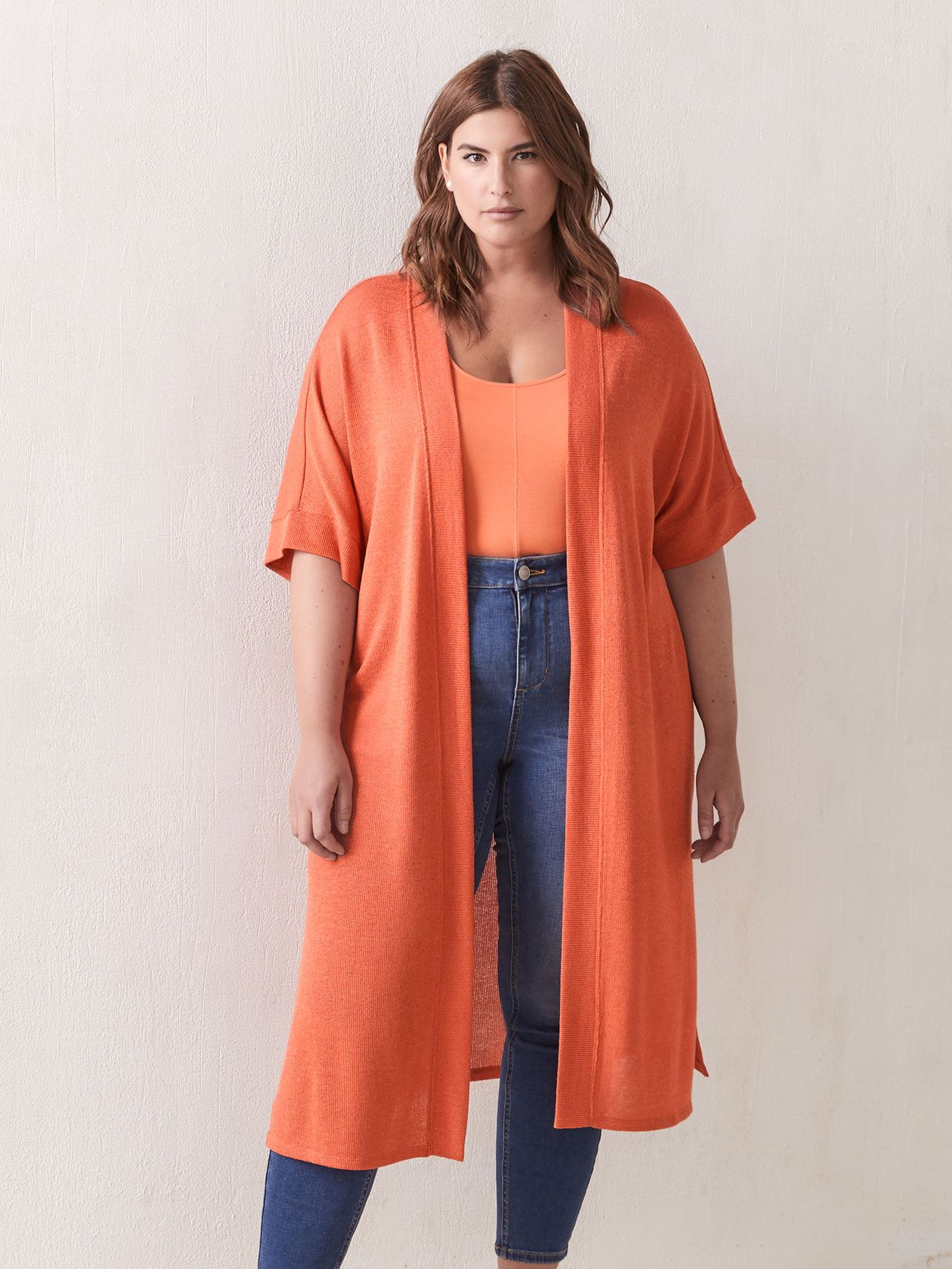 Long Solid Duster Kimono Cardigan - Addition Elle