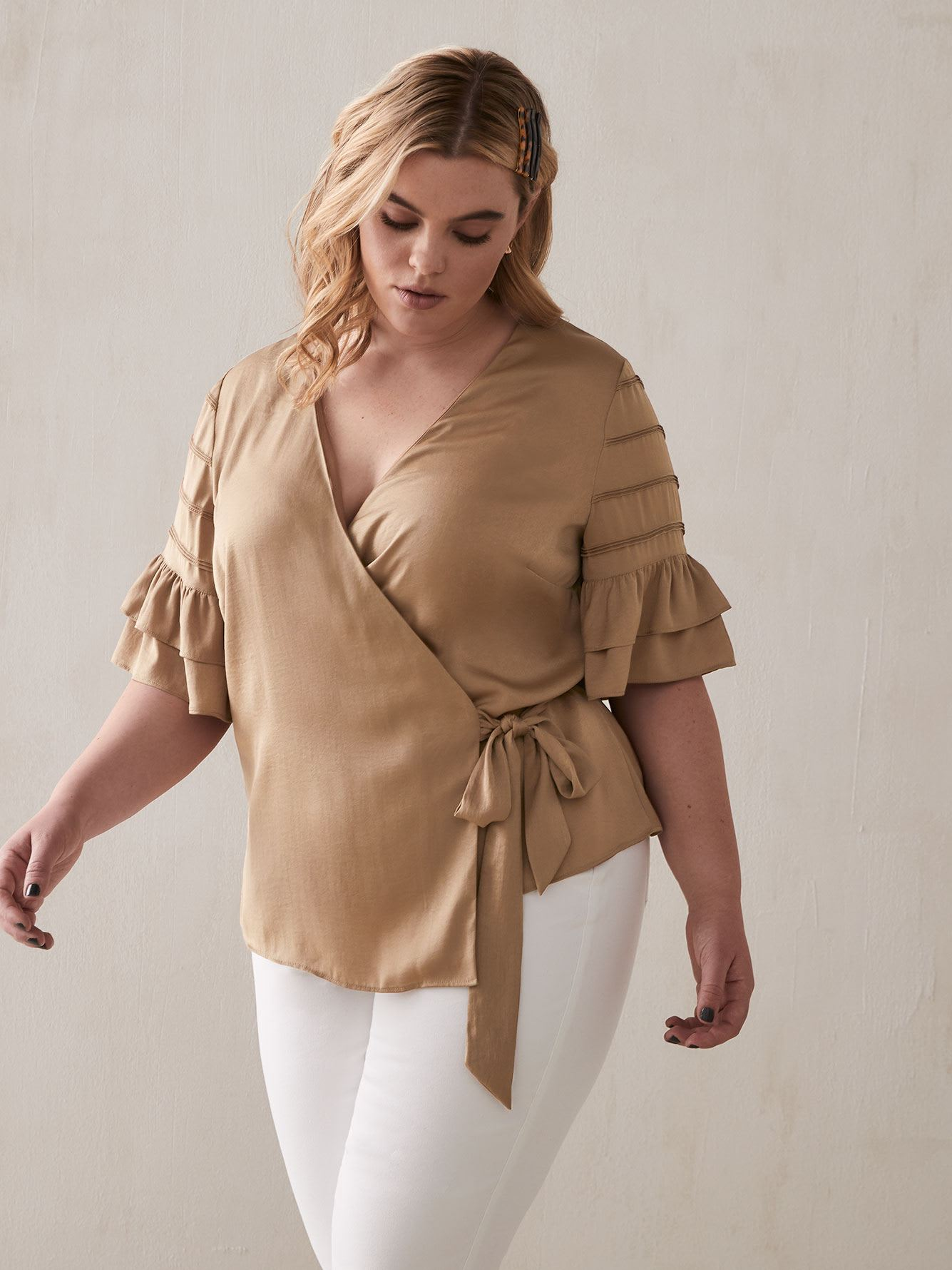 Wrap Blouse with Flutter Sleeves