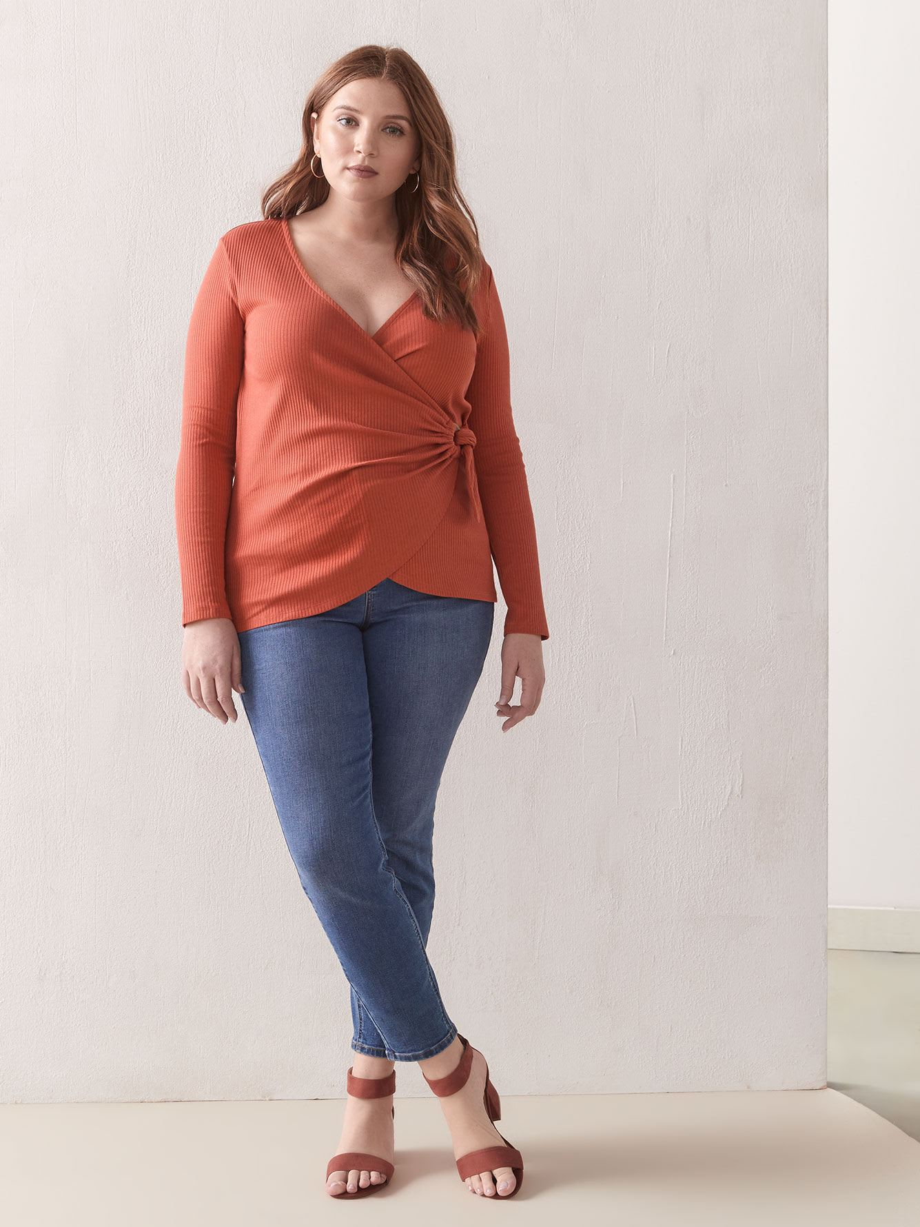 D-Ring Tie-Front Ribbed Top - Addition Elle