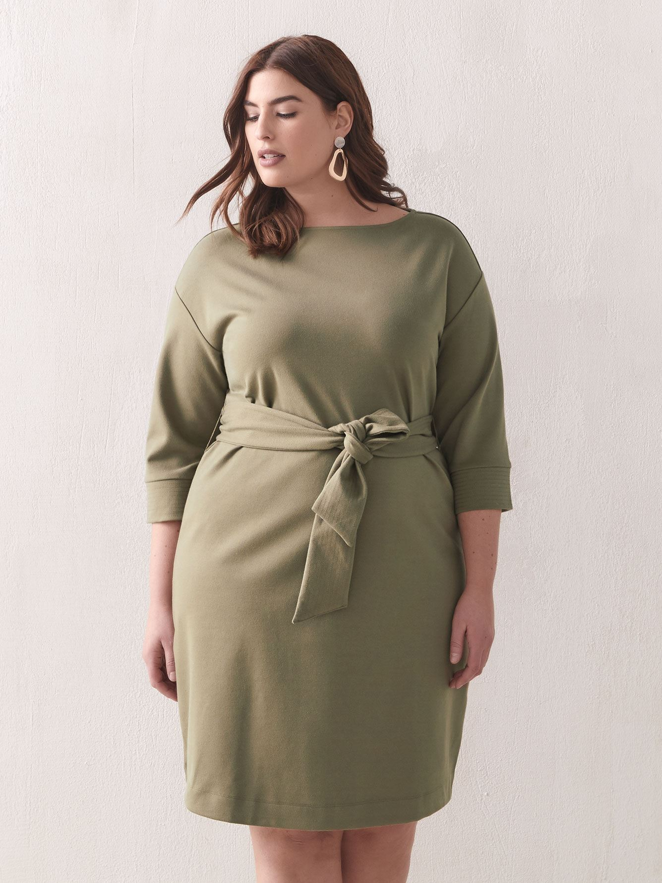 Belted Boat-Neck Dress - Addition Elle