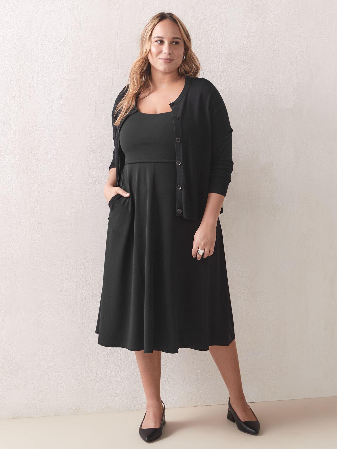 Square-Neck Fit and Flare Midi Dress - Addition Elle
