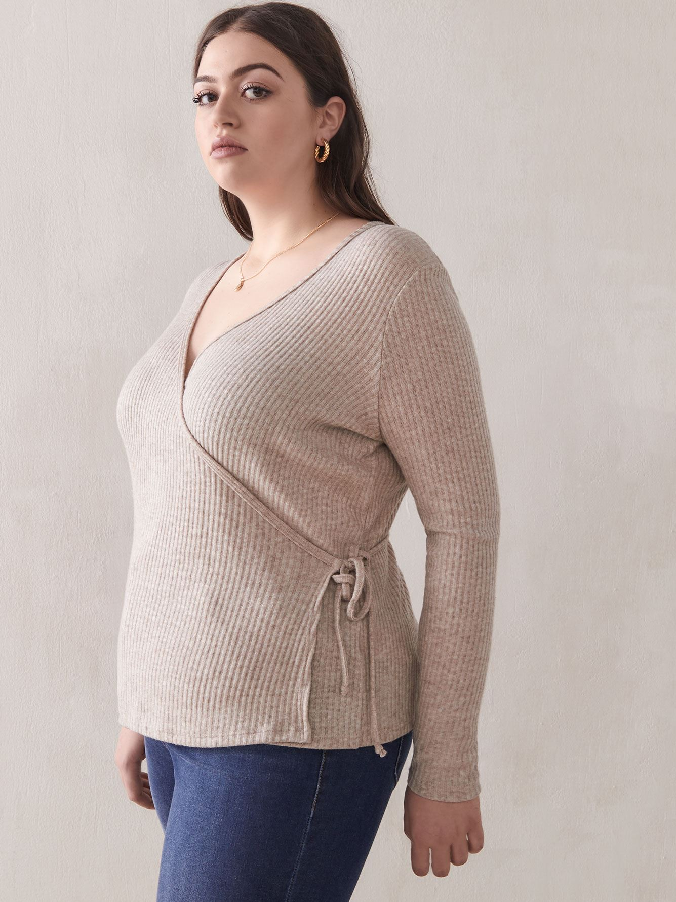 Ribbed-Knit Wrap Top - Addition Elle
