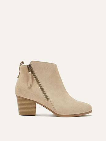 Wide Suede Booties with Side Zip