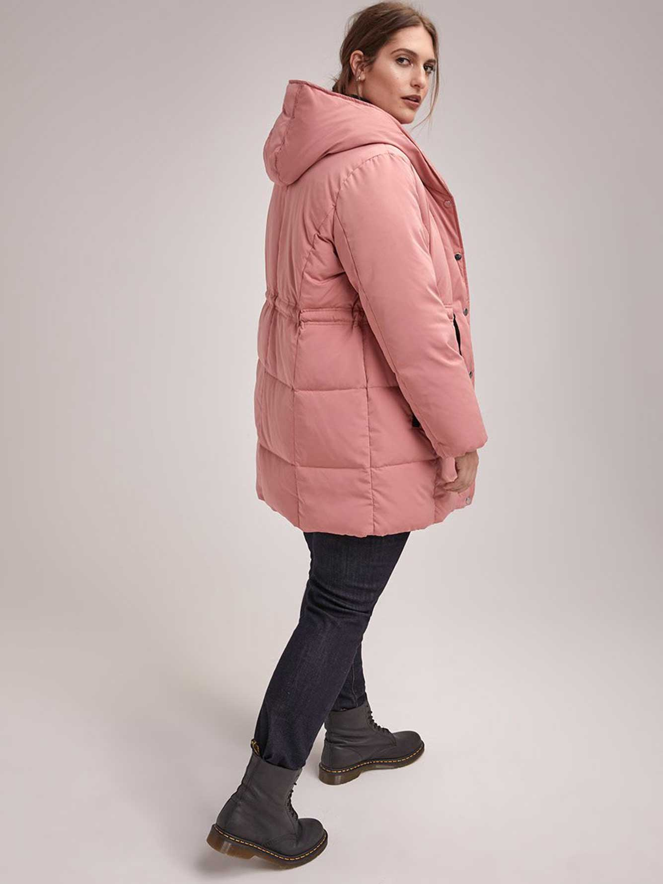 Mid-Length Puffer Jacket with Hood - In Every Story