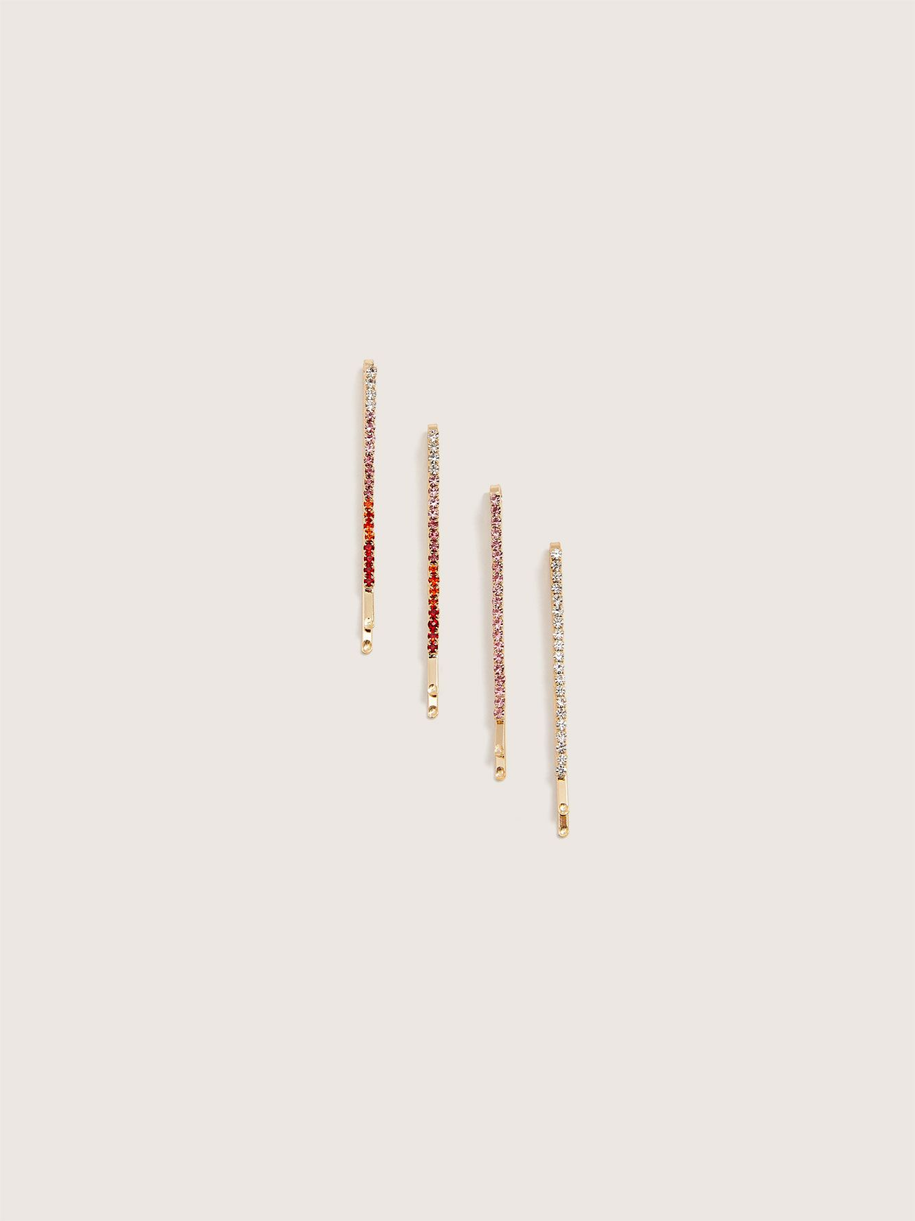 Coloured Rhinestone Hair Pins, 4-Pack - Addition Elle