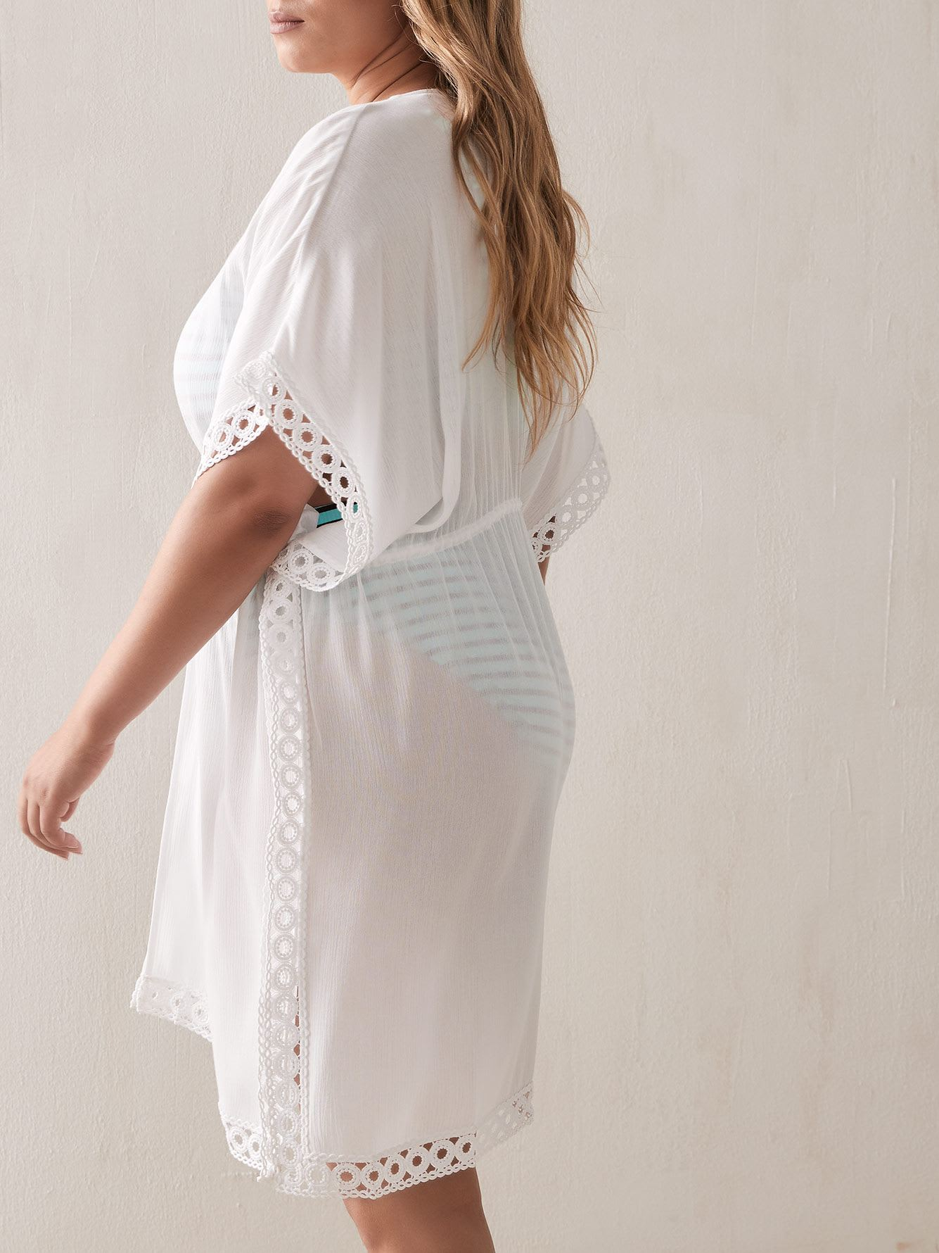 Solid Cover-Up with Crochet Trim - Addition Elle
