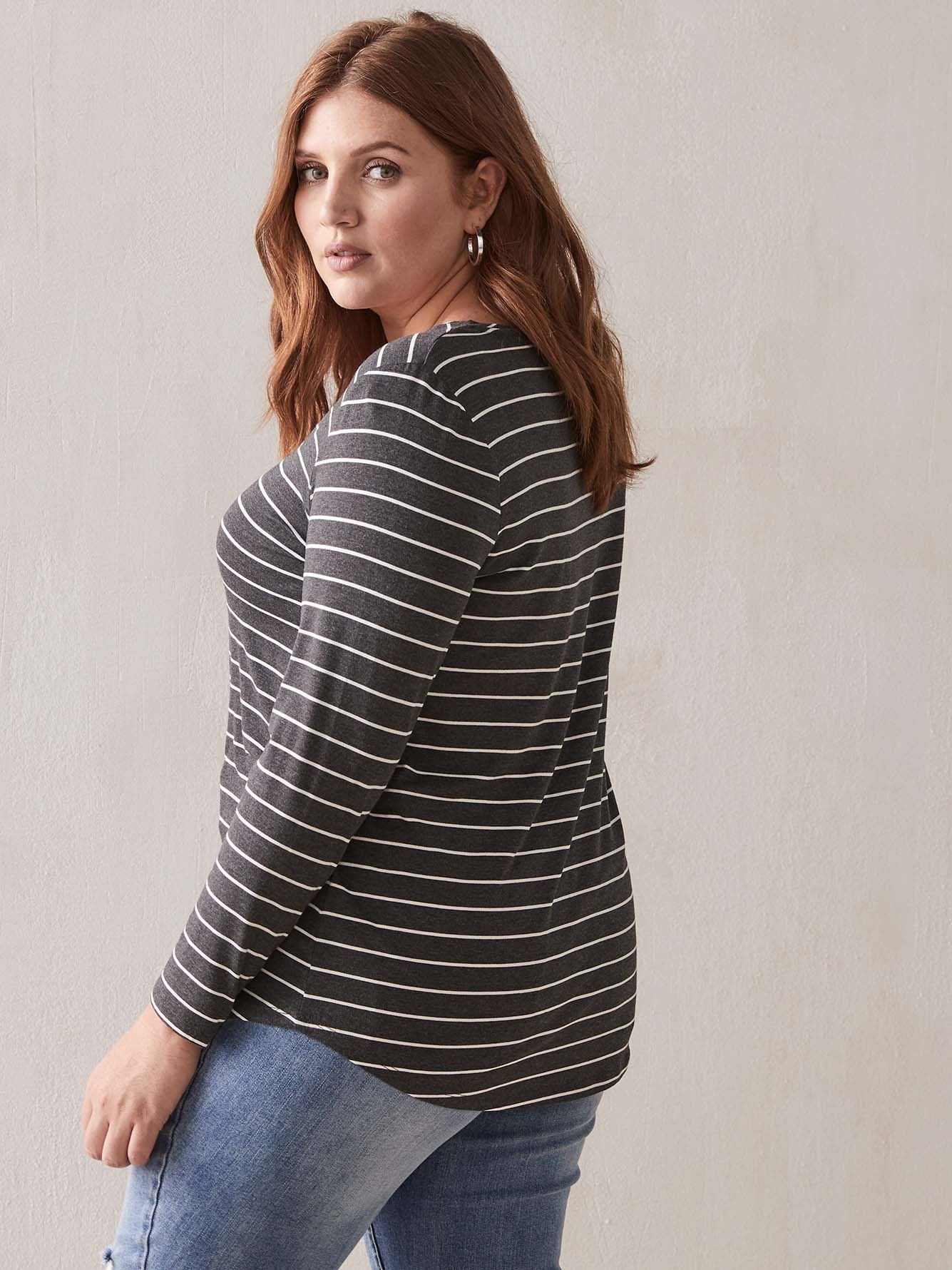 Striped Long Sleeve T-Shirt - Addition Elle