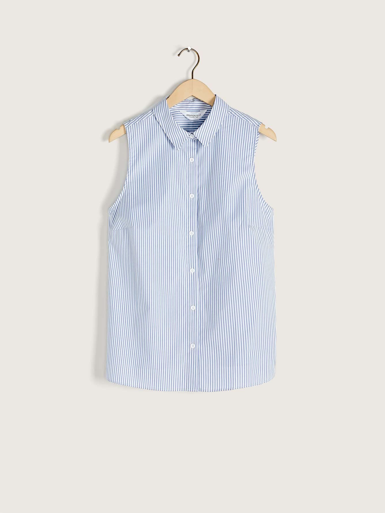 Sleeveless Cotton Poplin Shirt - Addition Elle