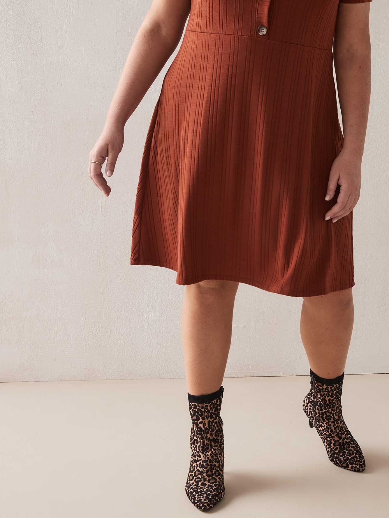 Fit & Flared Ribbed Polo Dress - Addition Elle