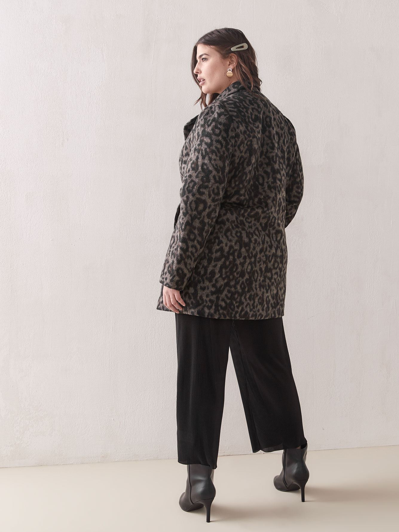Leopard Print Wool-Blend Coat - Addition Elle