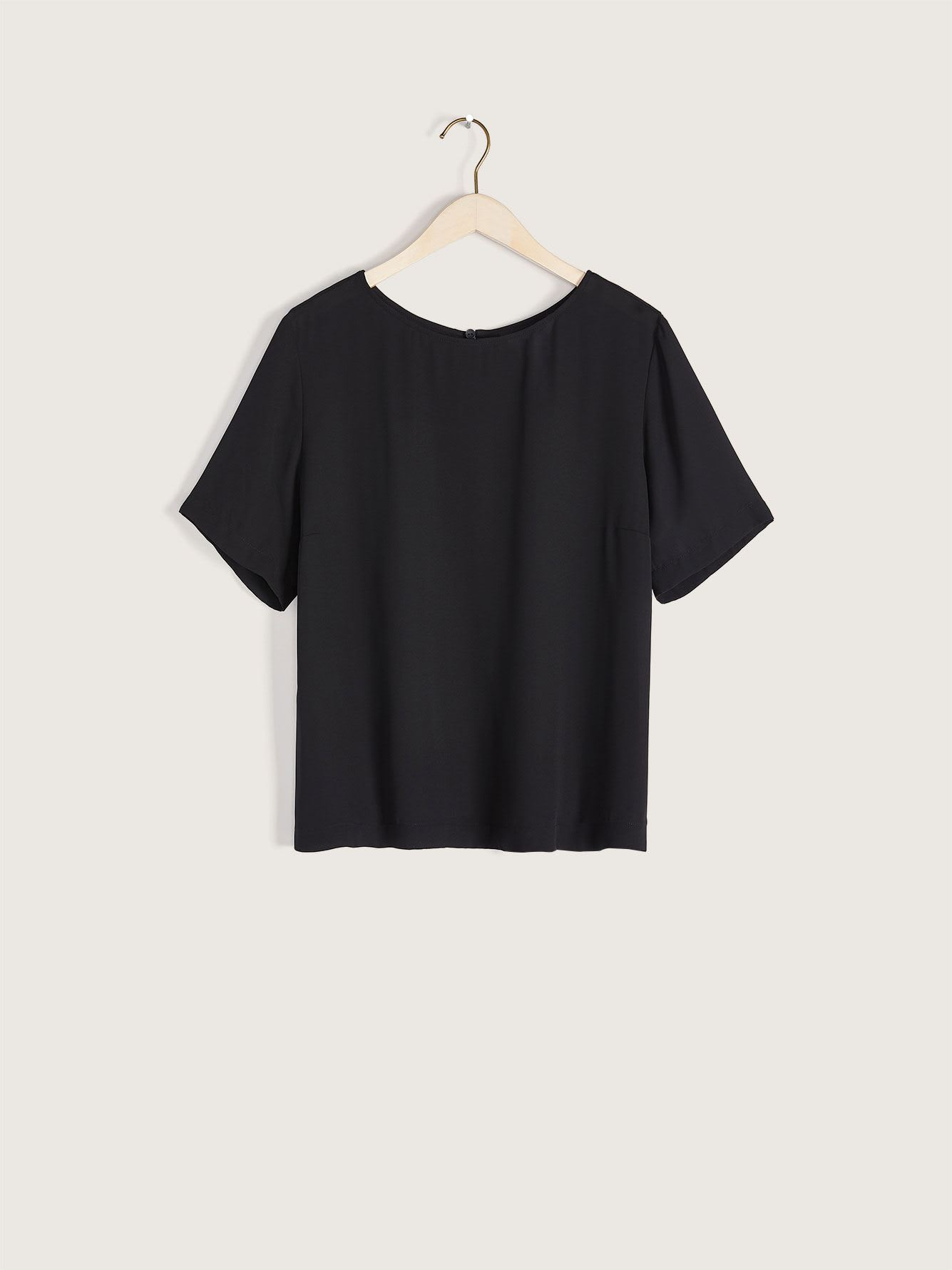 Elbow-Sleeve Black Blouse - Addition Elle