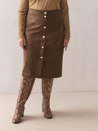 Faux Suede Button-Down Skirt - Addition Elle
