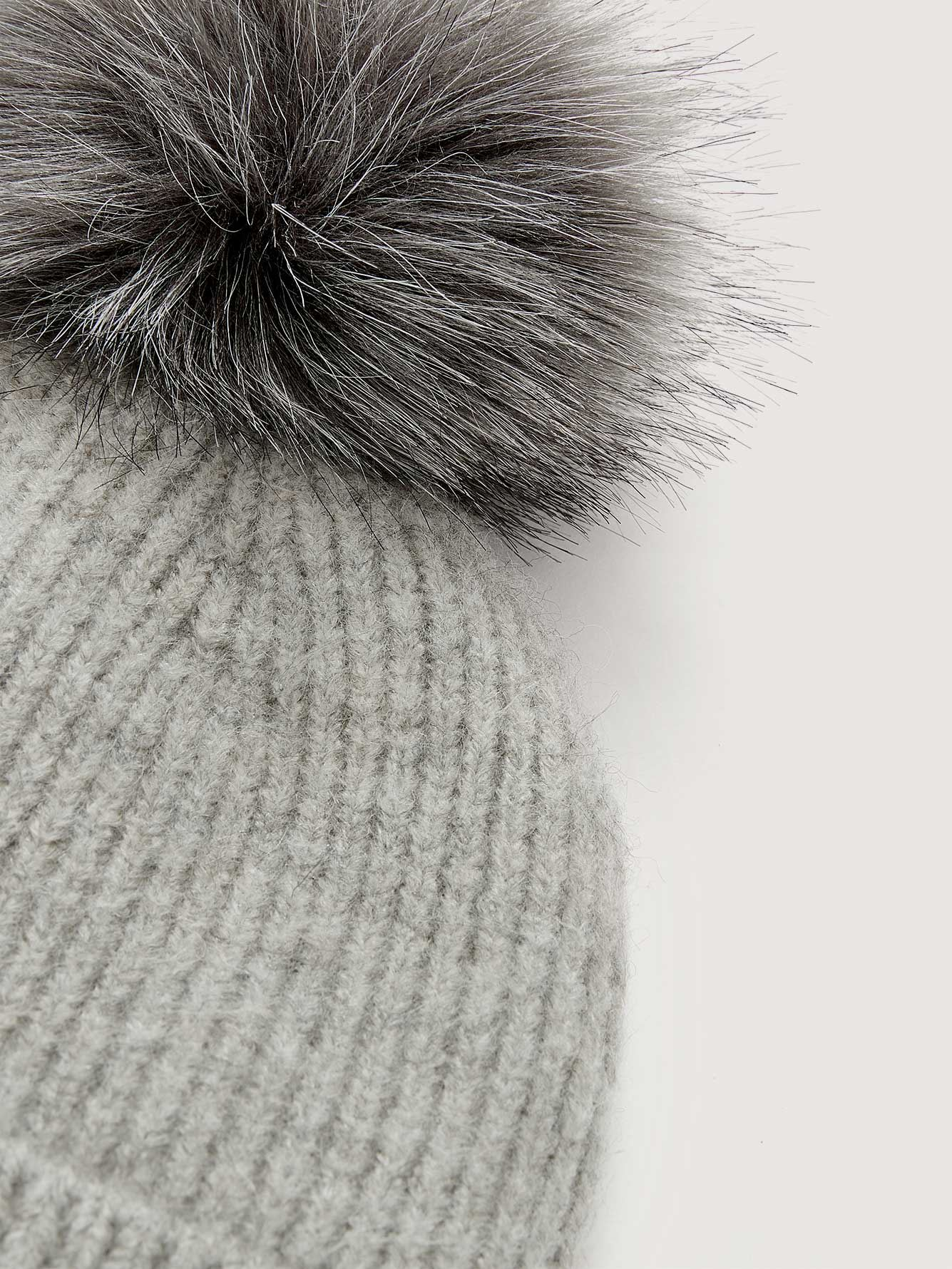Cuffed Beanie with Faux Fur Pompom - Addition Elle