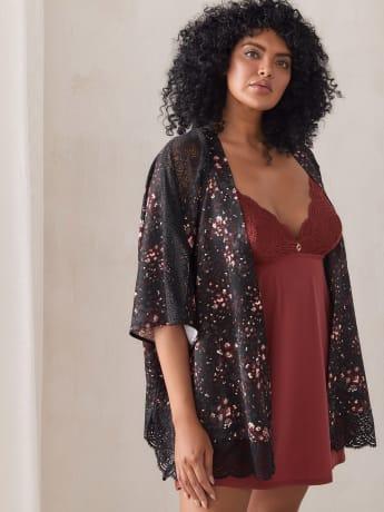 Printed Satin Kimono with Lace Insert - Ashley Graham
