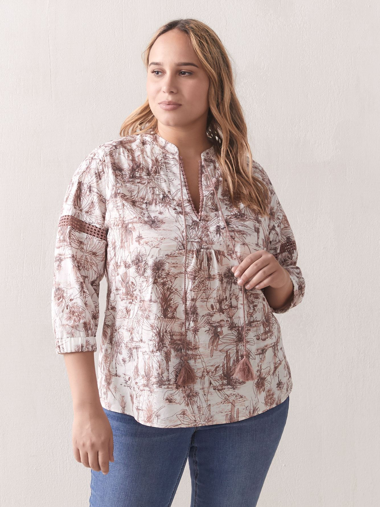 Printed 3/4 Sleeve Blouse with Mandarin Collar - Addition Elle