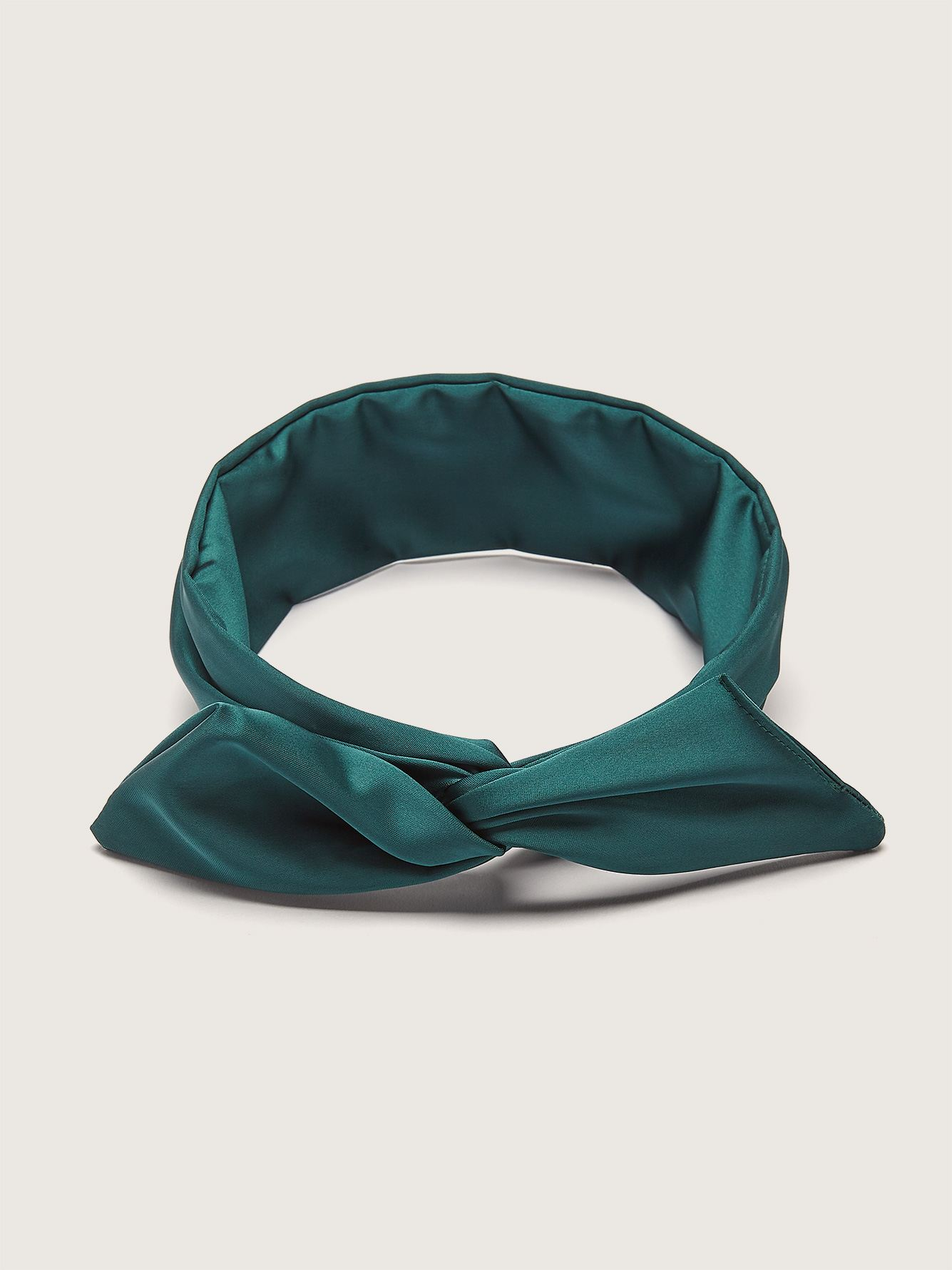 Twisted Satin Headband with Integrated Metal Rod - Gibou