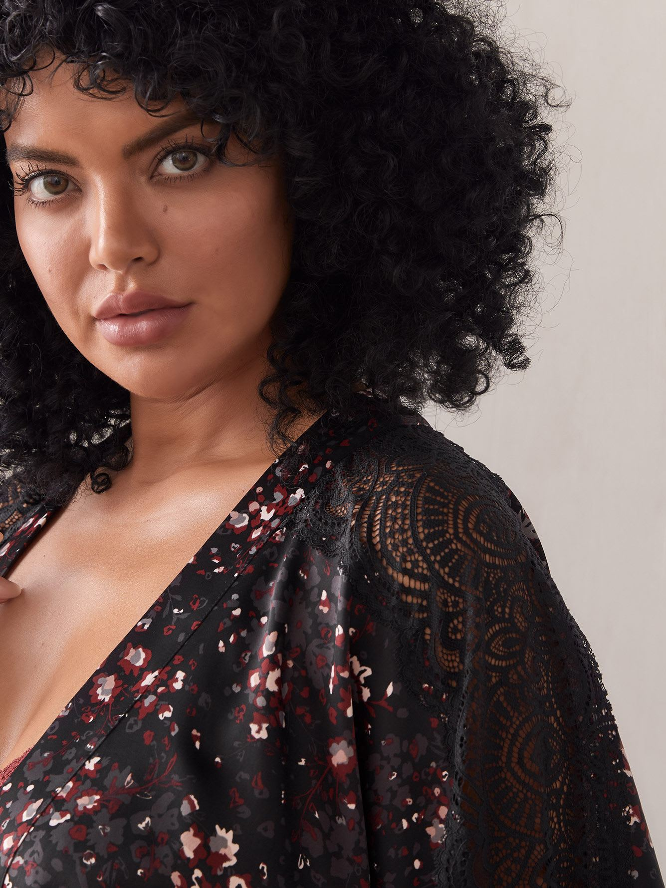 Printed Satin Kimono with Lace Insert - Ashley Graham