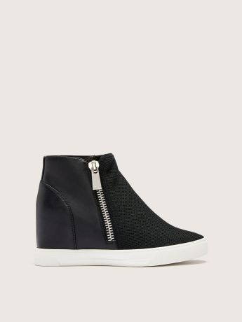 Side Zipper Wide Wedge Sneaker - Addition Elle