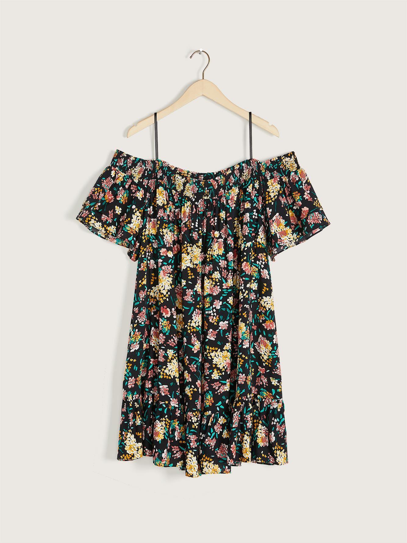 Printed Off-the-Shoulder Dress - Addition Elle