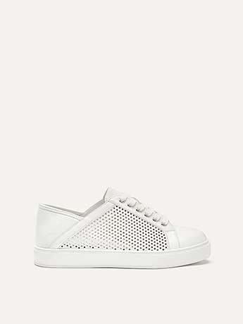 Wide Laser Cut Lace-Up Sneakers