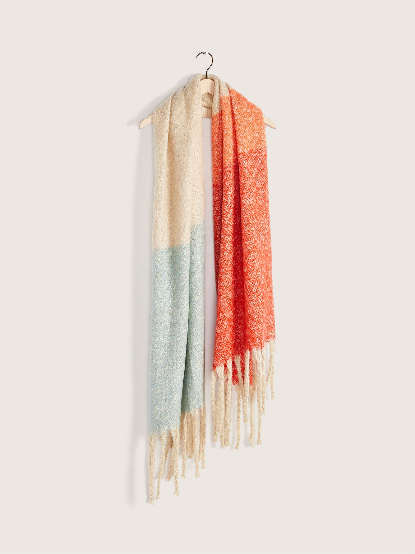 Colour Block Oblong Scarf with Fringe - Addition Elle