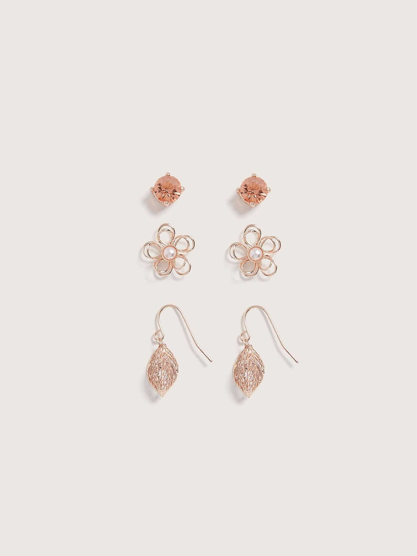 Boucles d'oreilles fixes, paquet de 3 - Addition Elle