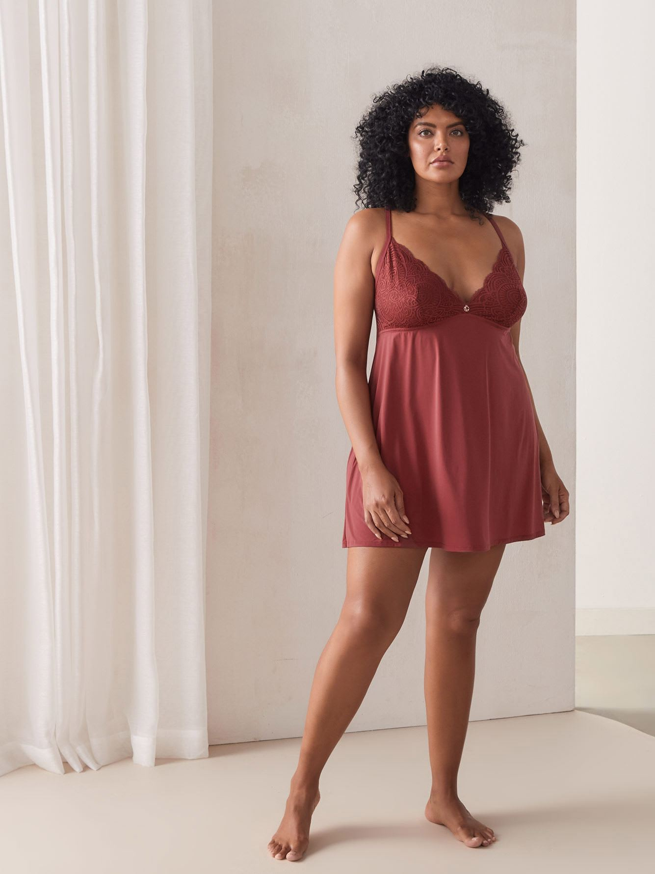 V-Neck Microfiber Babydoll with Lace - Ashley Graham