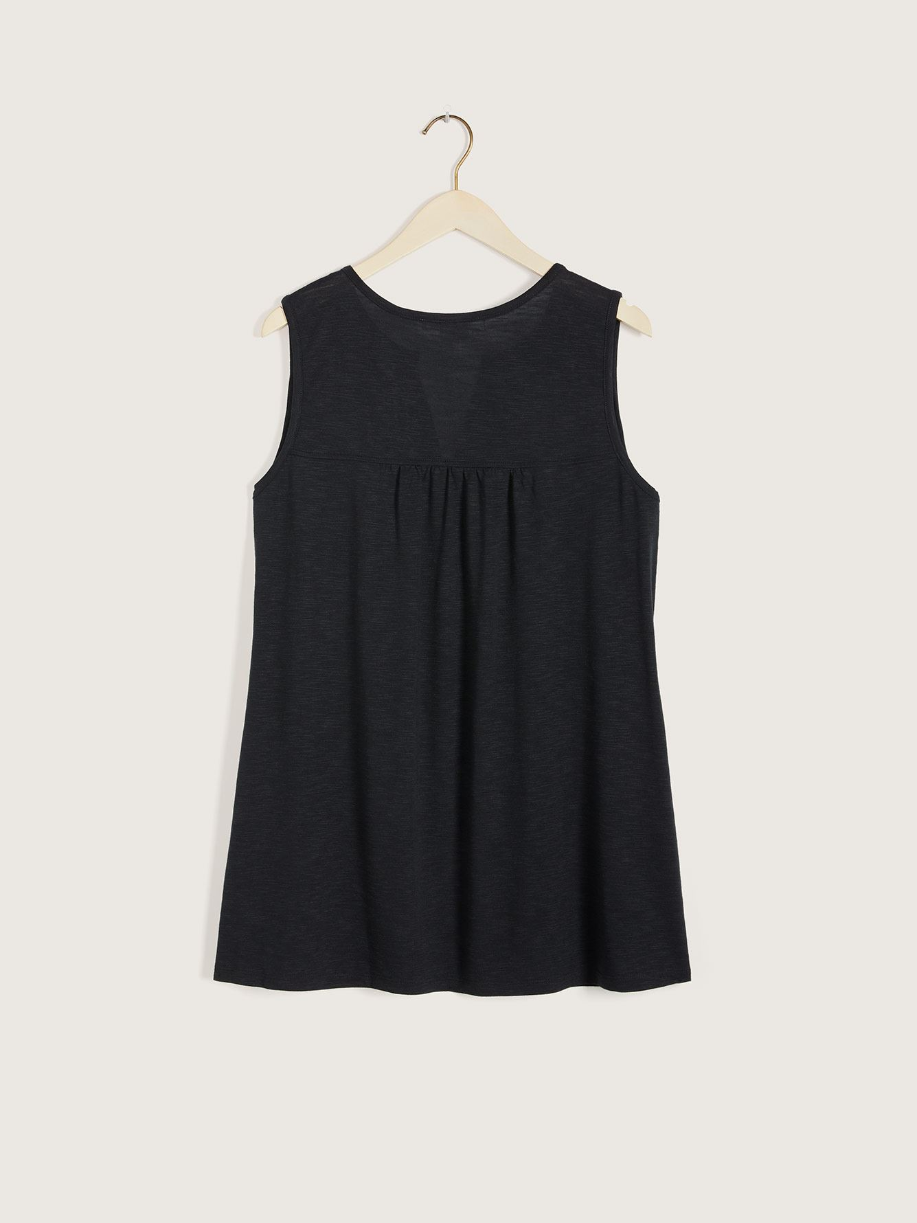 Sleeveless Top with Embroidery & Split Neckline - In Every Story