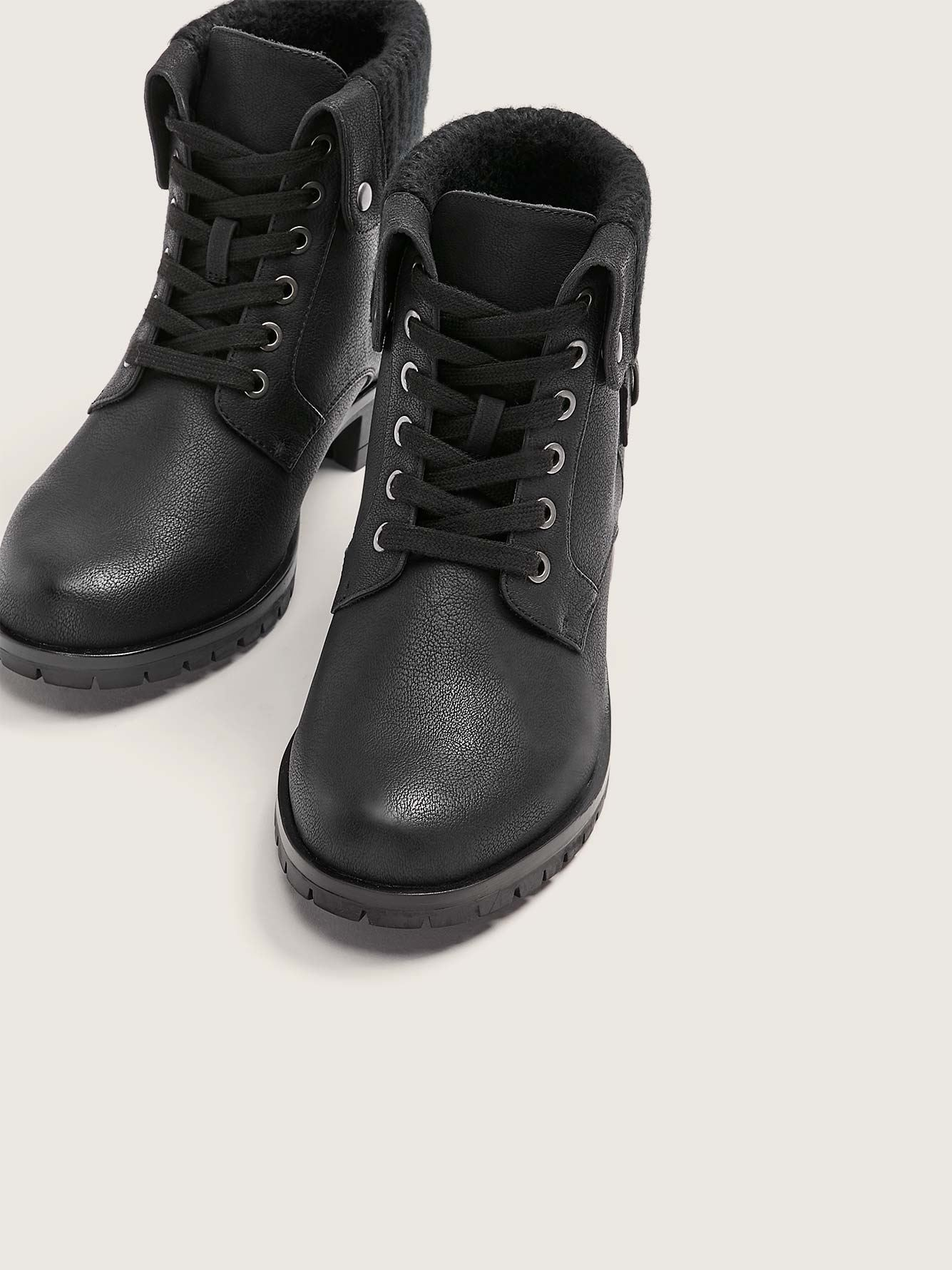 Flipped Collar Lace Up Combat Booties - Addition Elle
