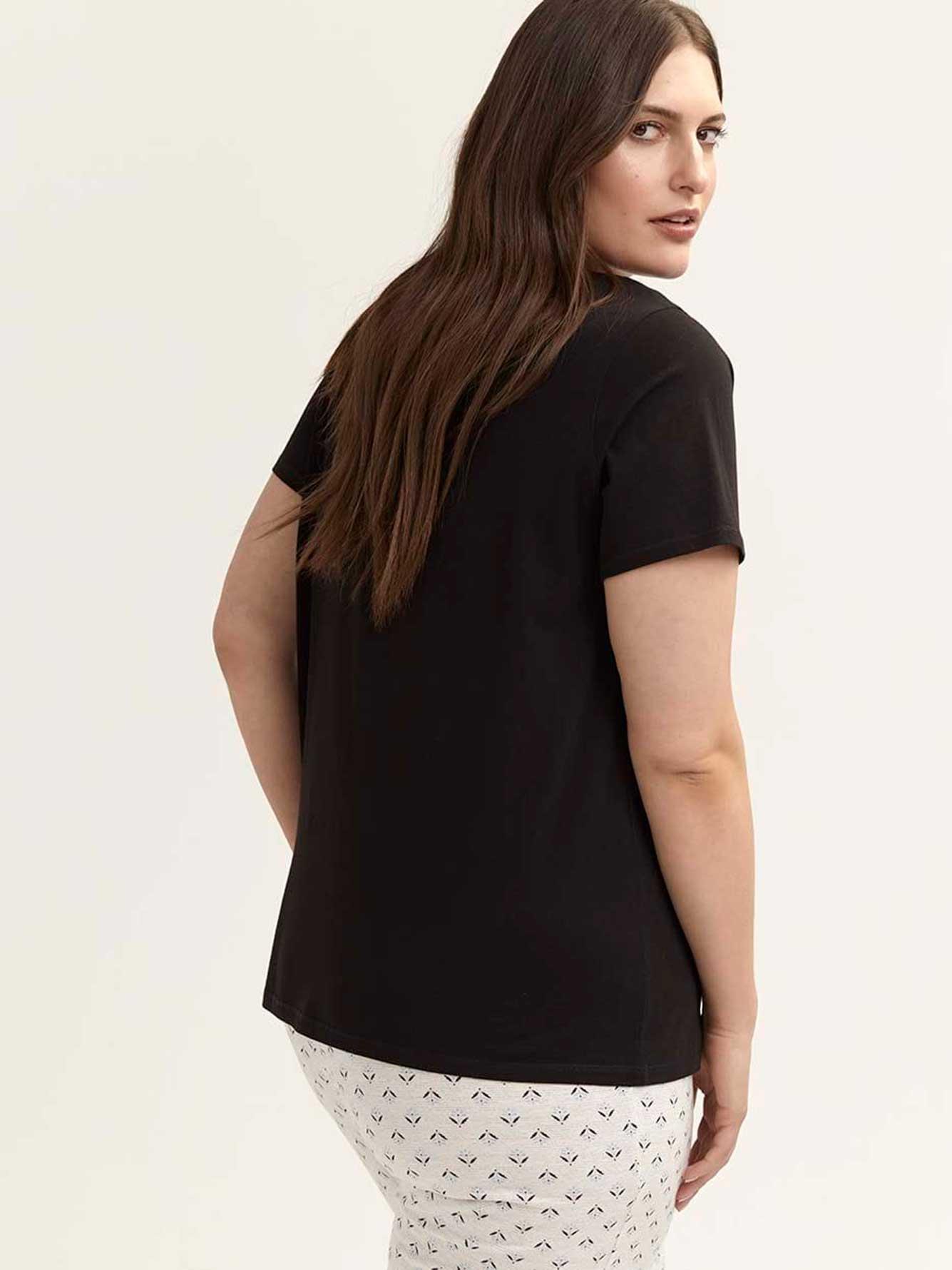 Cotton Pyjama T-Shirt with Lace - ti Voglio