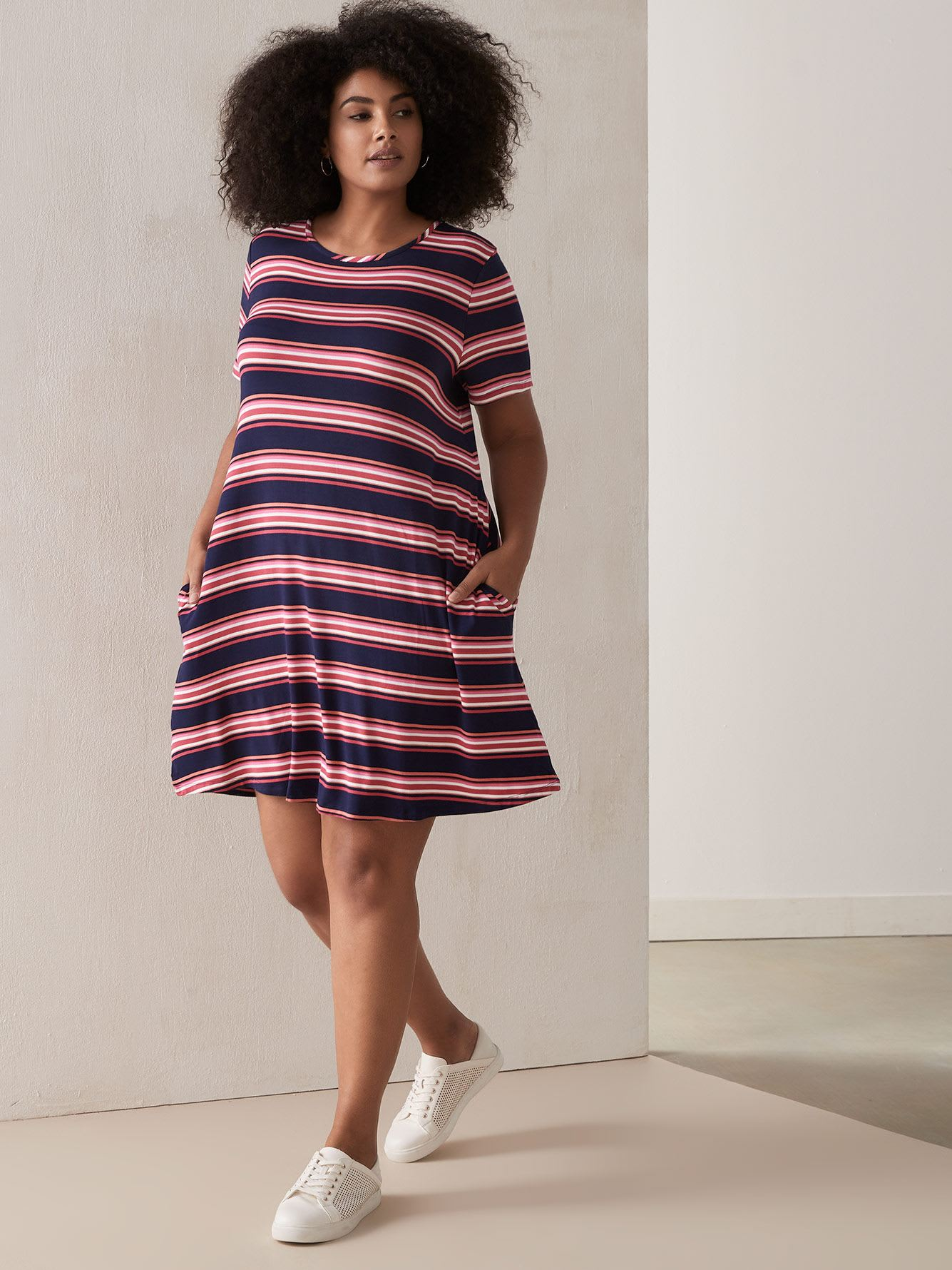 Striped Swing Dress with Cinched Waist