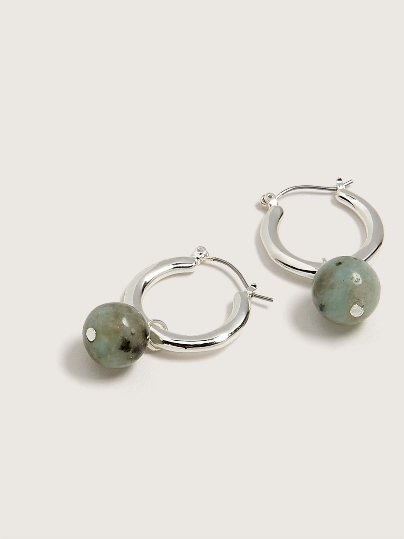 Hammered Hoop Earrings with Semi-Precious Stone - Addition Elle