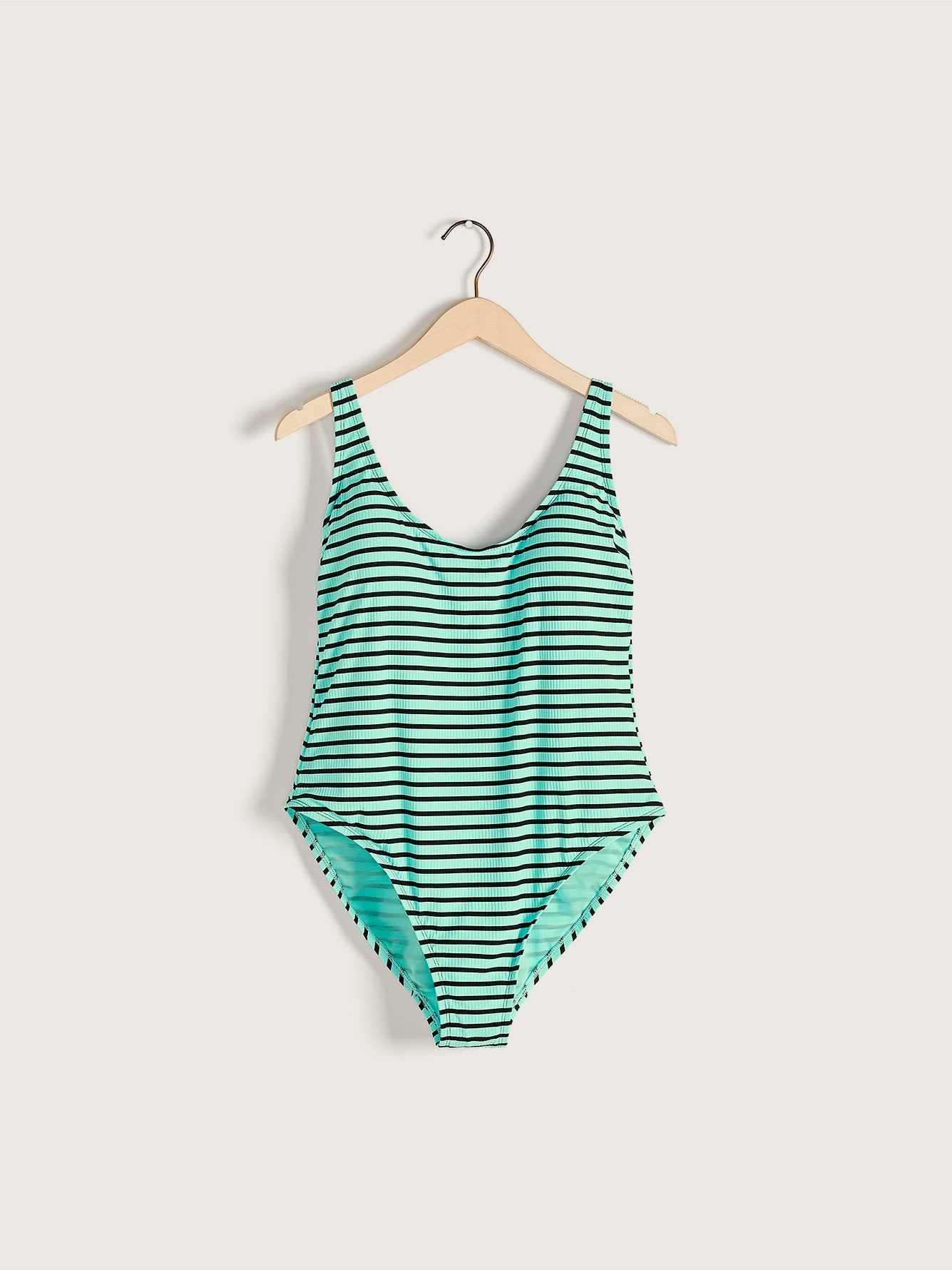 Striped One-Piece Swimsuit with Lace Up Detail - Addition Elle