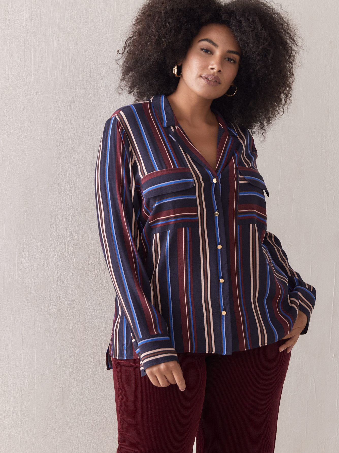 Multi Color Striped Blouse - Addition Elle