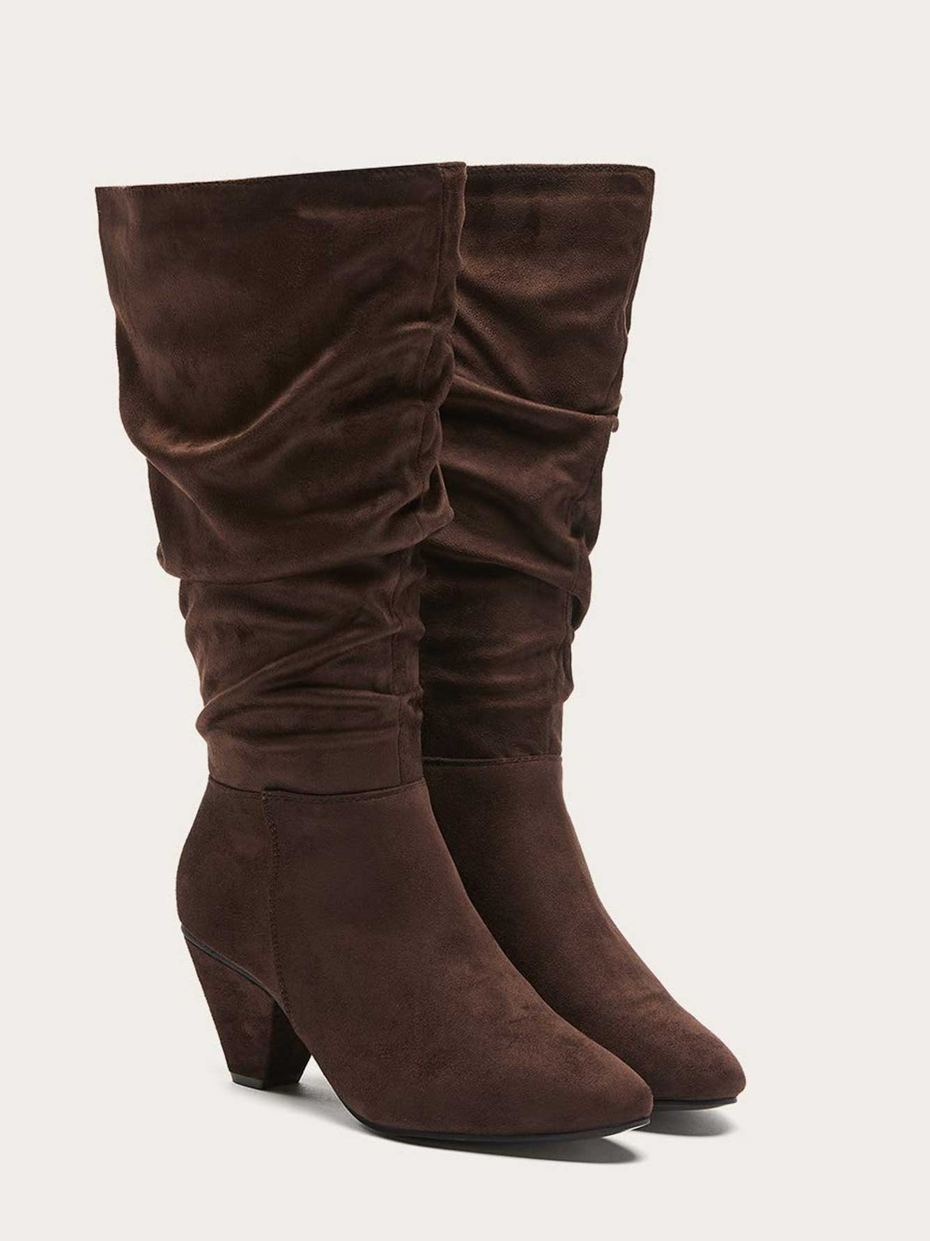 Wide Calf Faux-Suede Tall Boots with Shirring