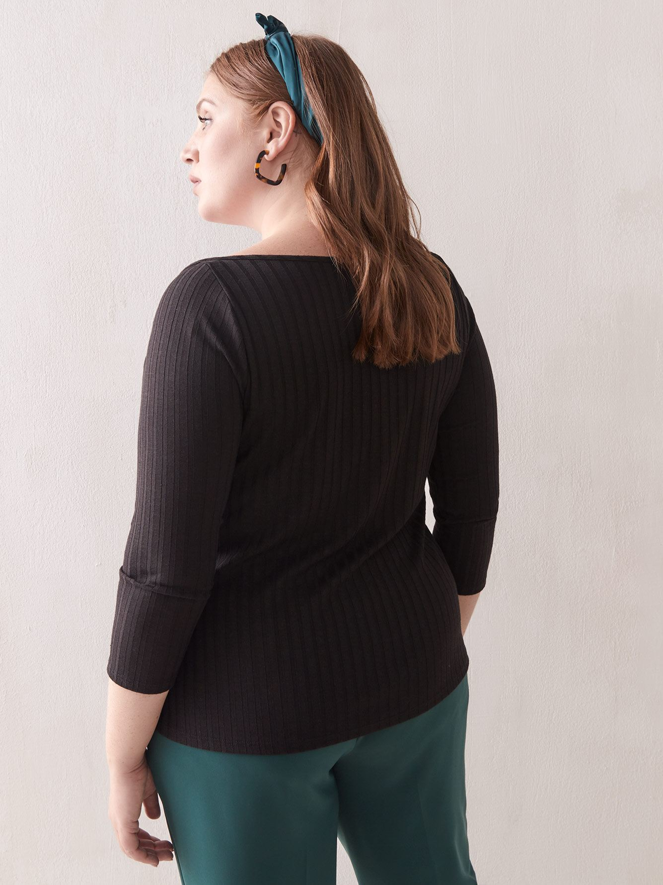 Square-Neck Ribbed Top - Addition Elle