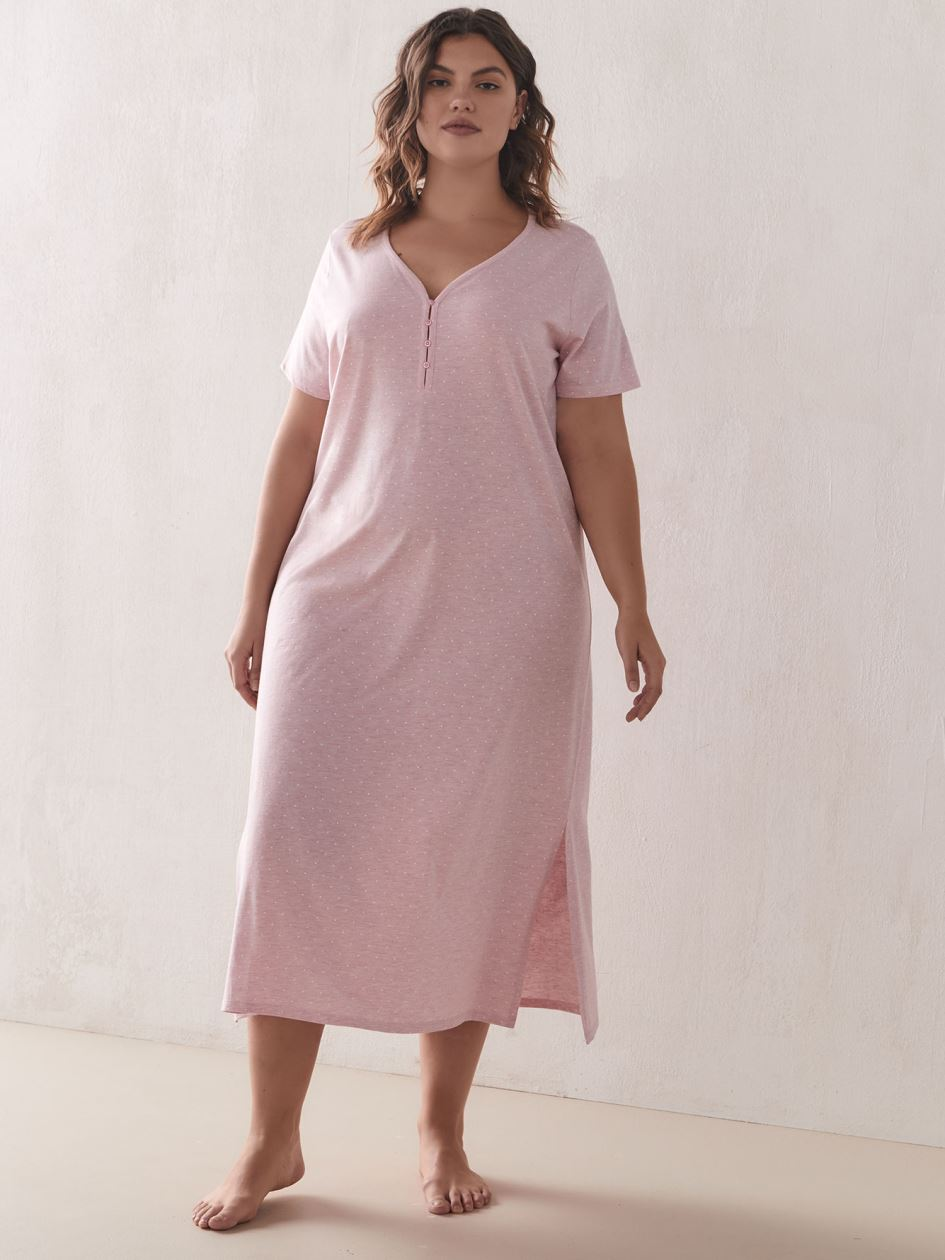 Long Button Detail Dotted Sleepshirt   Addition Elle Long Button Detail Dotted Sleepshirt   Addition Elle by Addition Elle