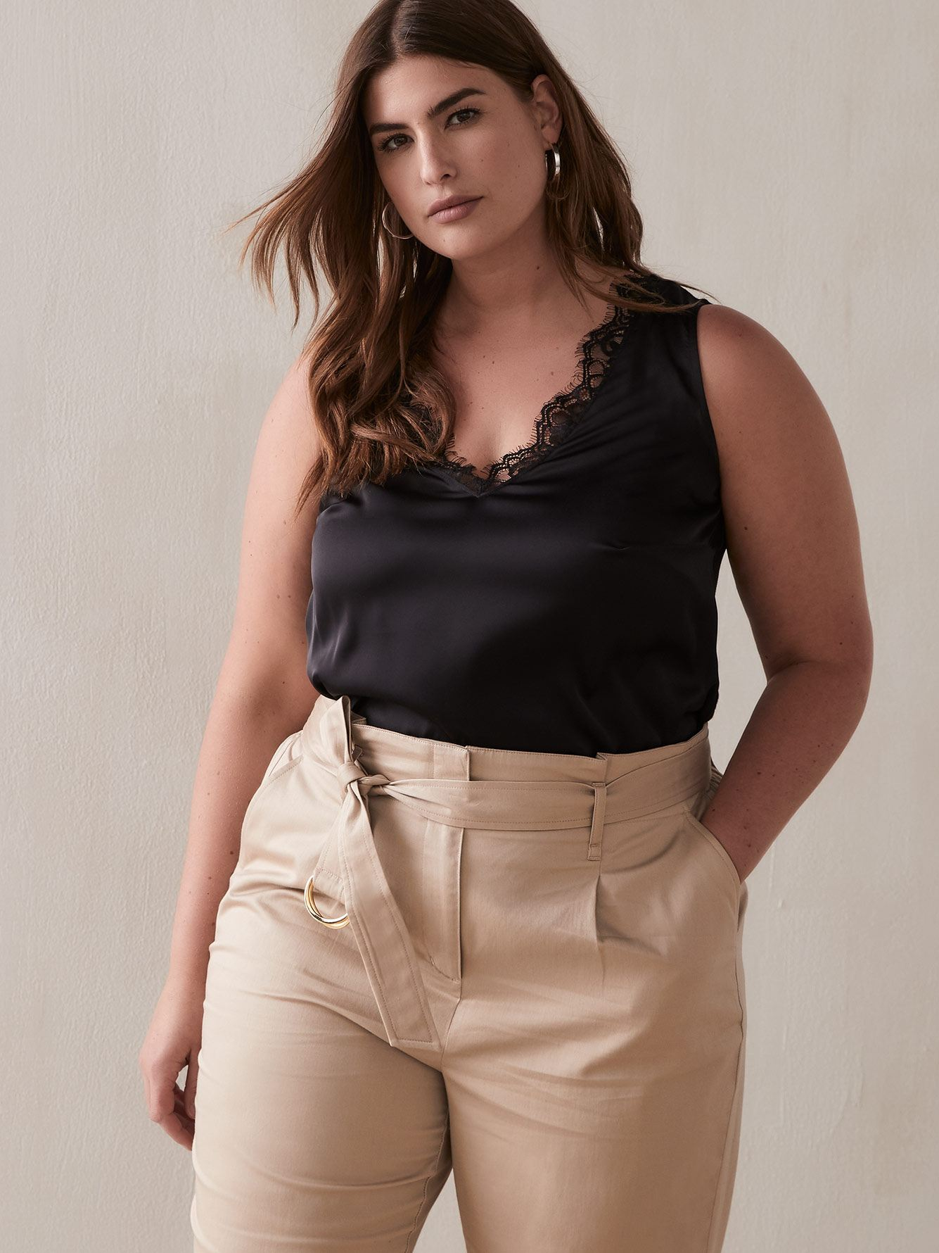 Satin Front Top with Lace Trim