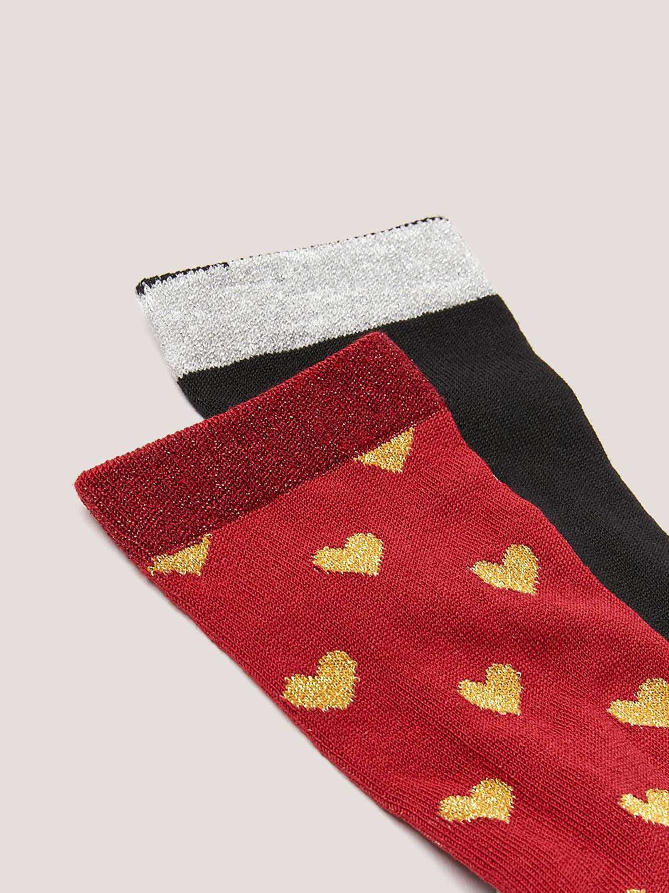 2 Pairs of Lurex Socks with Heart Motif