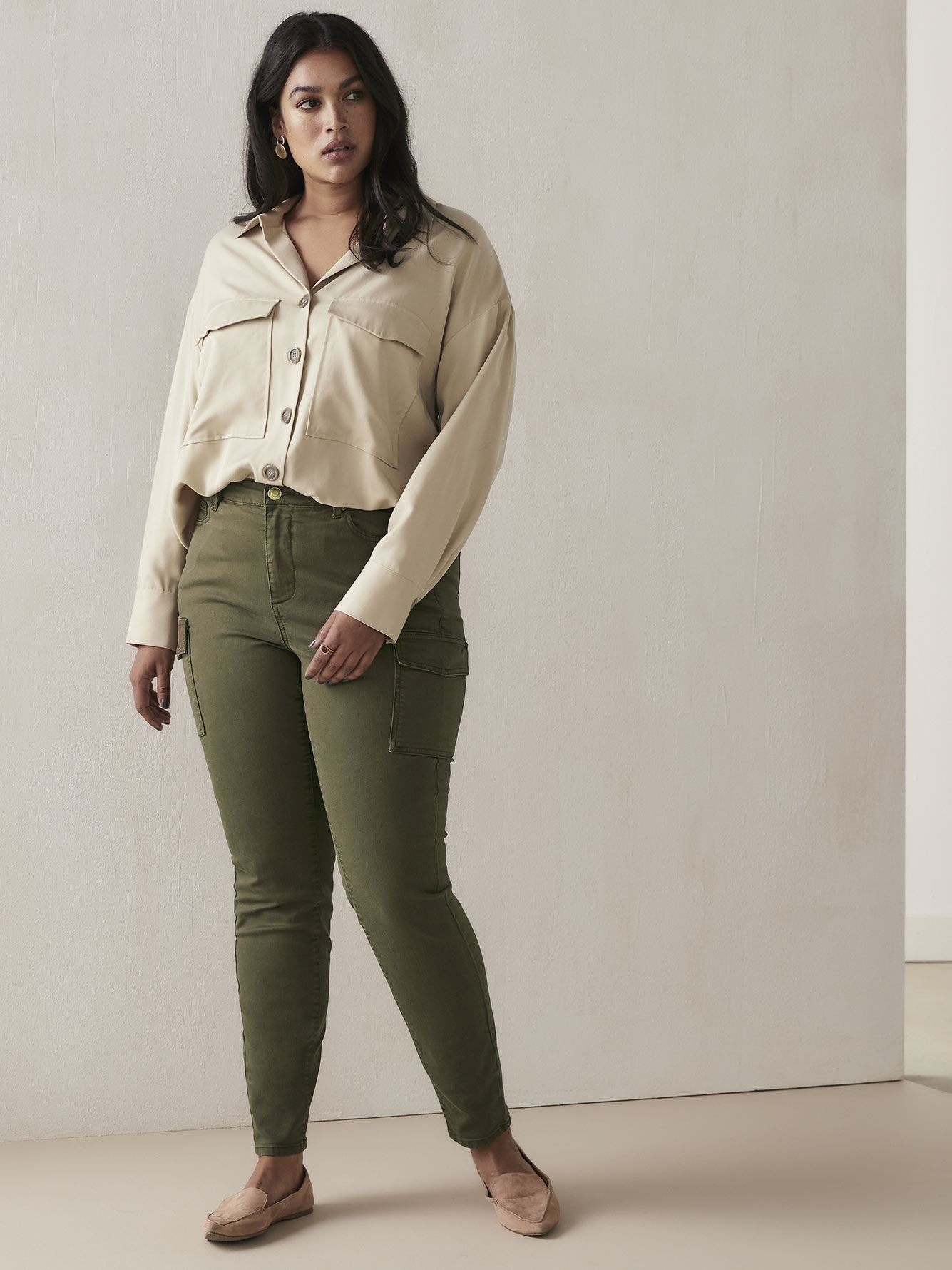 Pantalon cargo kaki skinny - Addition Elle