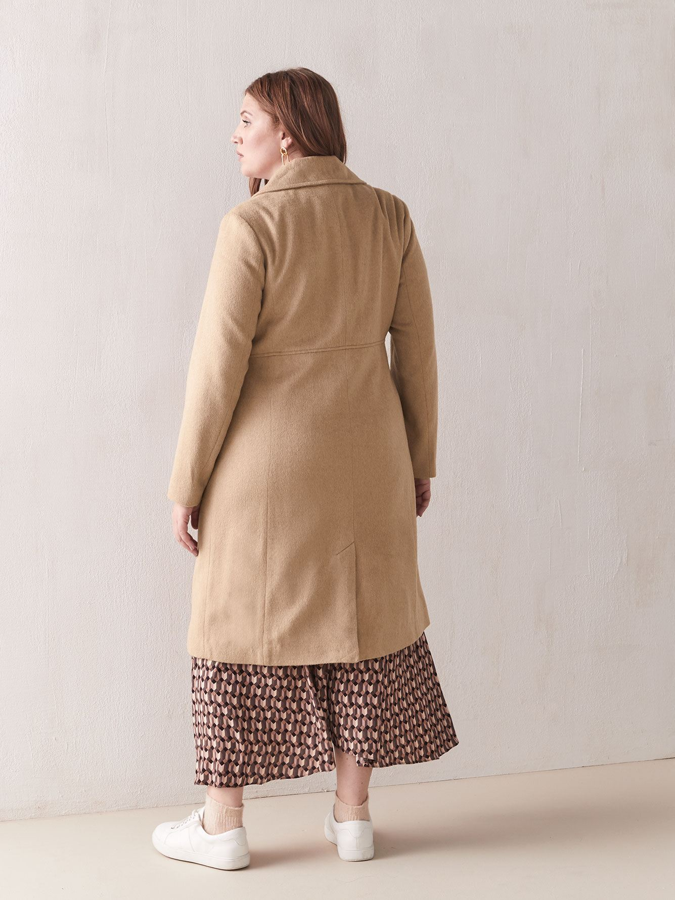 Camel Wool-Blend Coat - Addition Elle