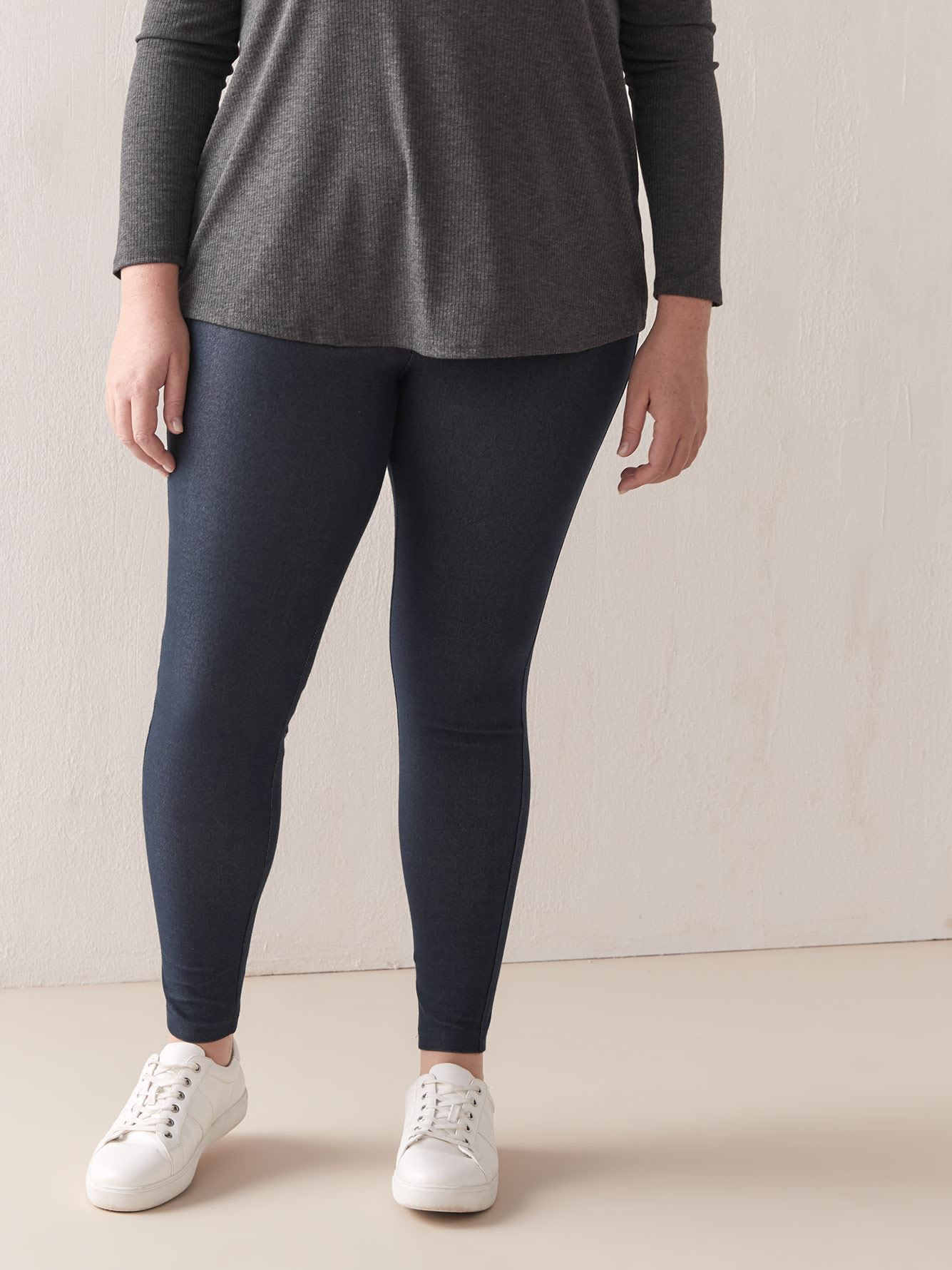 Petite Denim Leggings with Elastic Waistband - Addition Elle