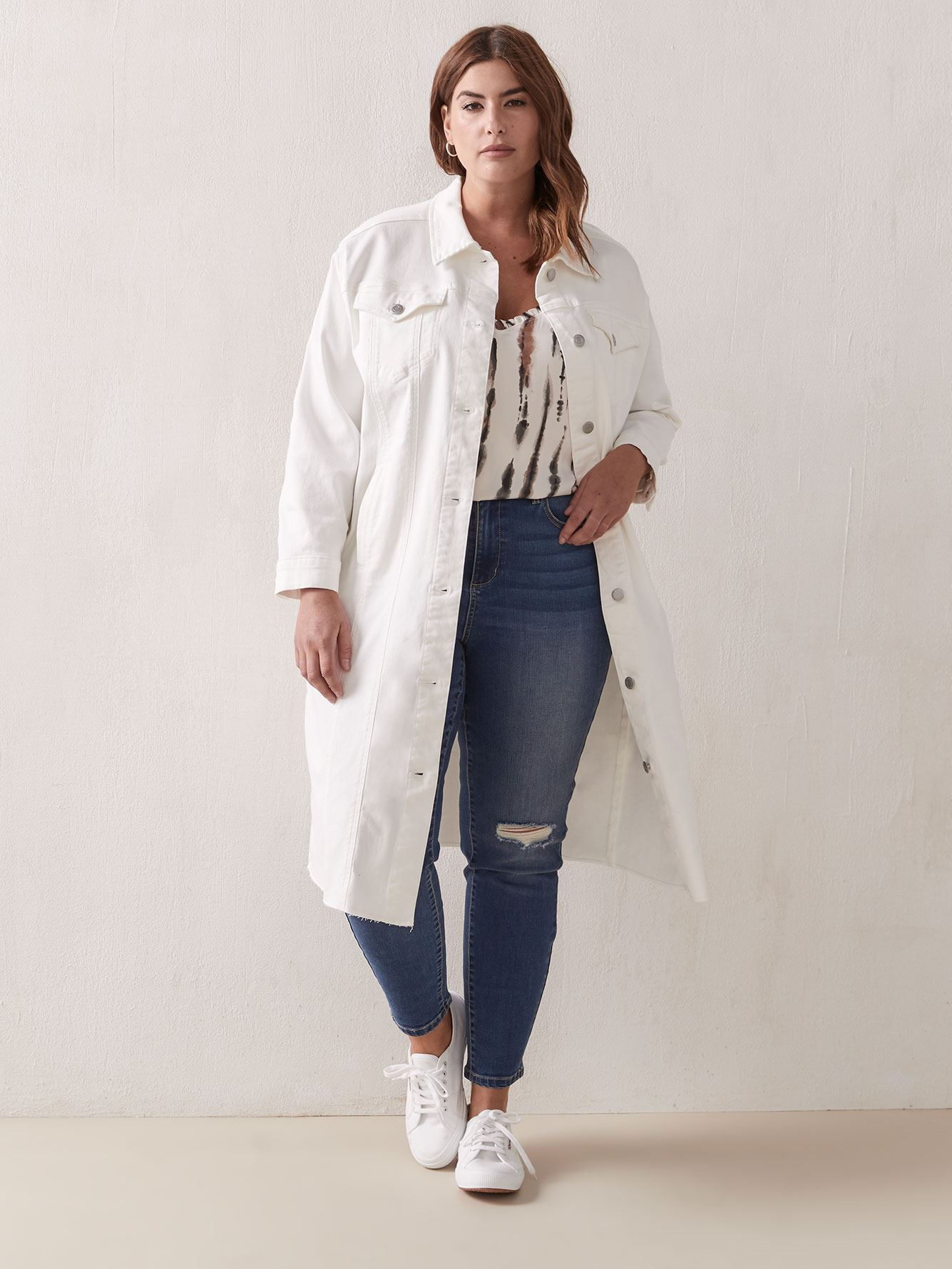 Veste boyfriend longue en denim blanc - Addition Elle
