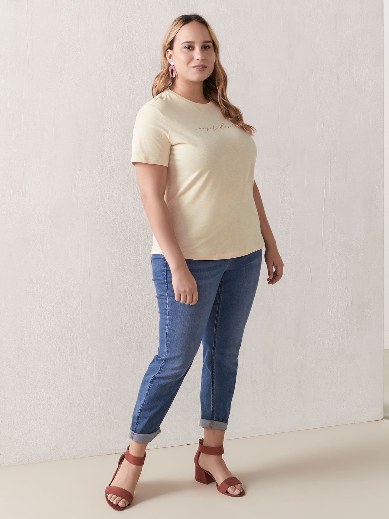 Boxy Cotton T-Shirt with Placement Print - Addition Elle