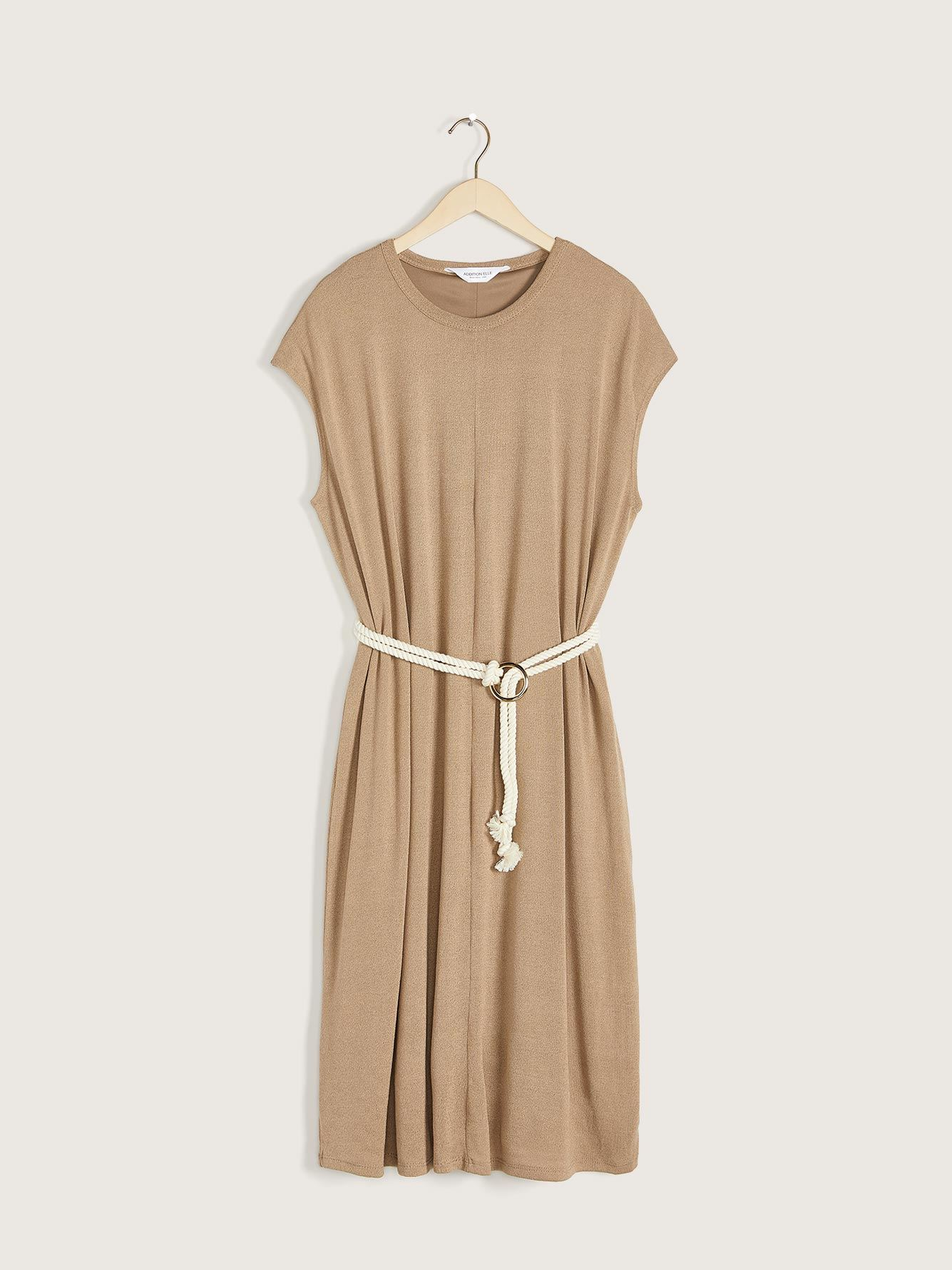Solid Midi Dress with Rope Belt - Addition Elle