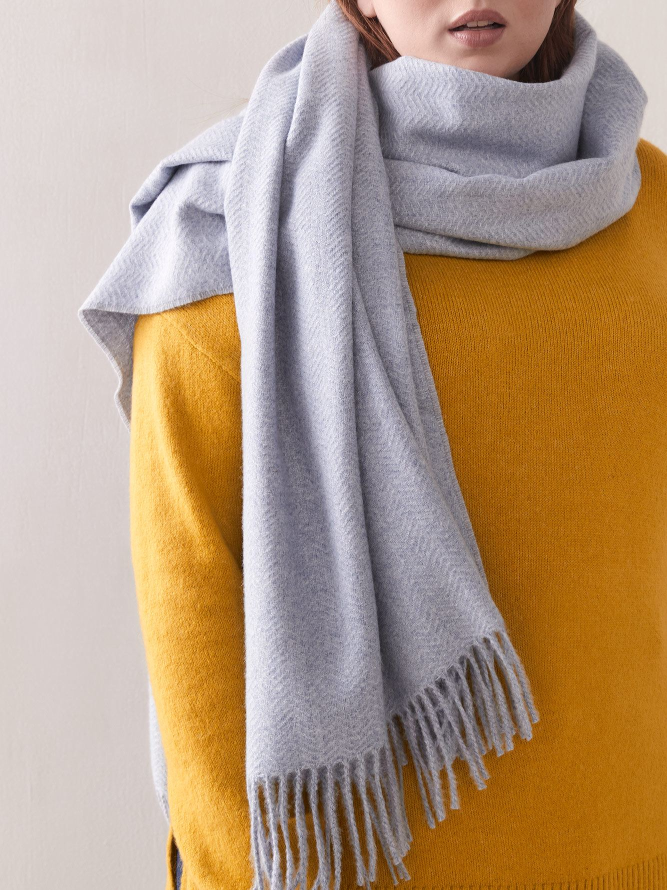 Textured Solid Fringe Scarf - Addition Elle