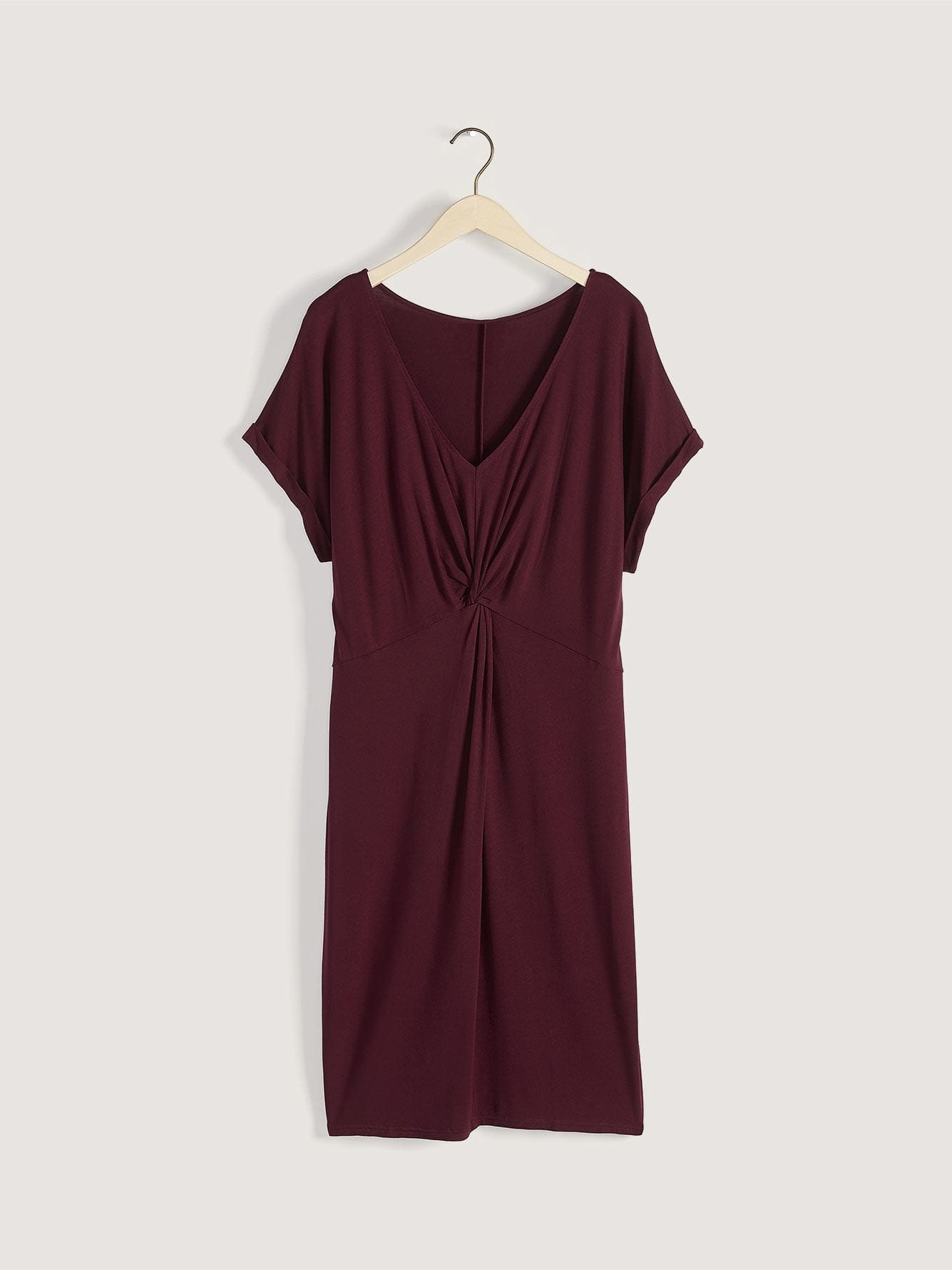 Front Knot Midi Dress with Dolman Sleeves